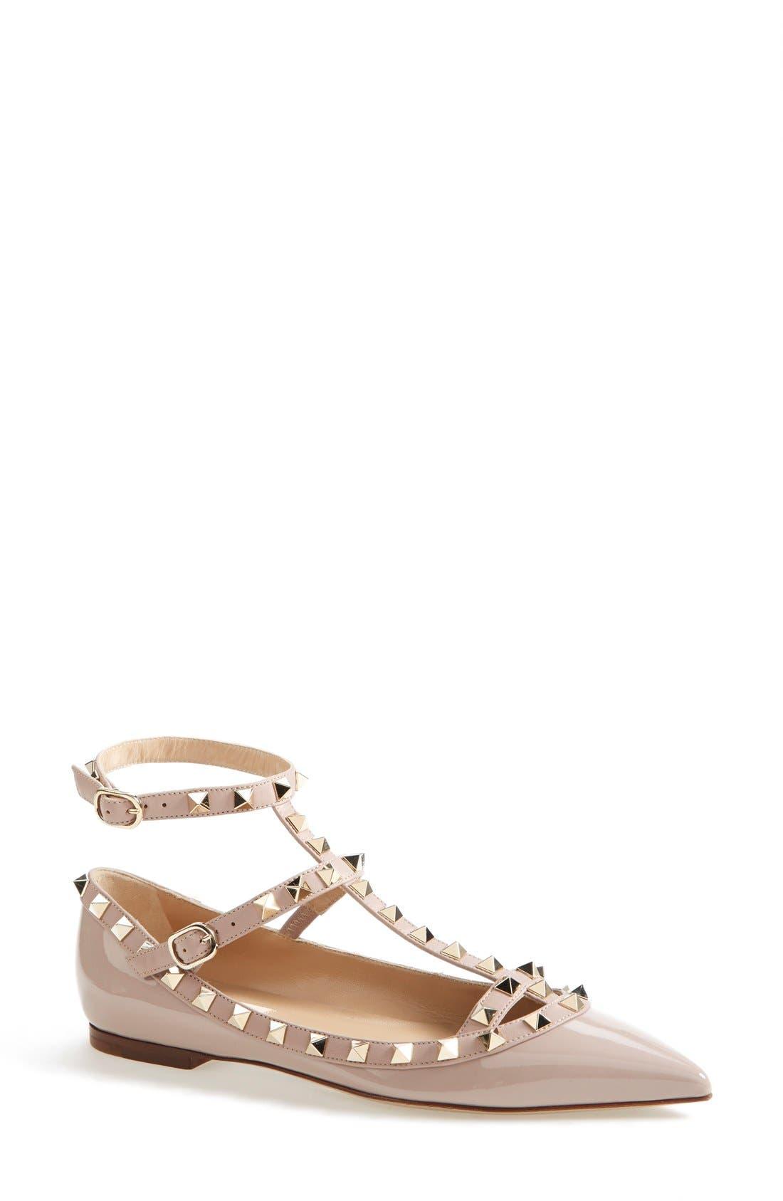 Main Image - Valentino 'Rockstud' Patent Leather T-Strap Ballerina Flat (Women)