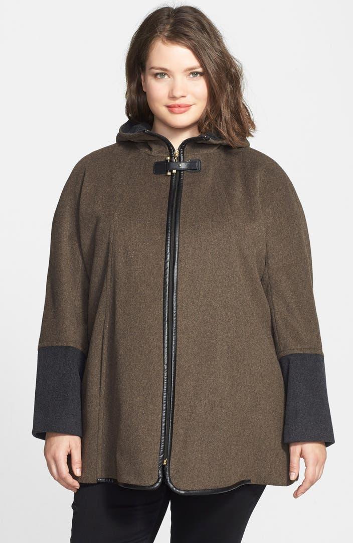 Ellen Tracy Faux Leather Trim Colorblock Swing Duffle Coat