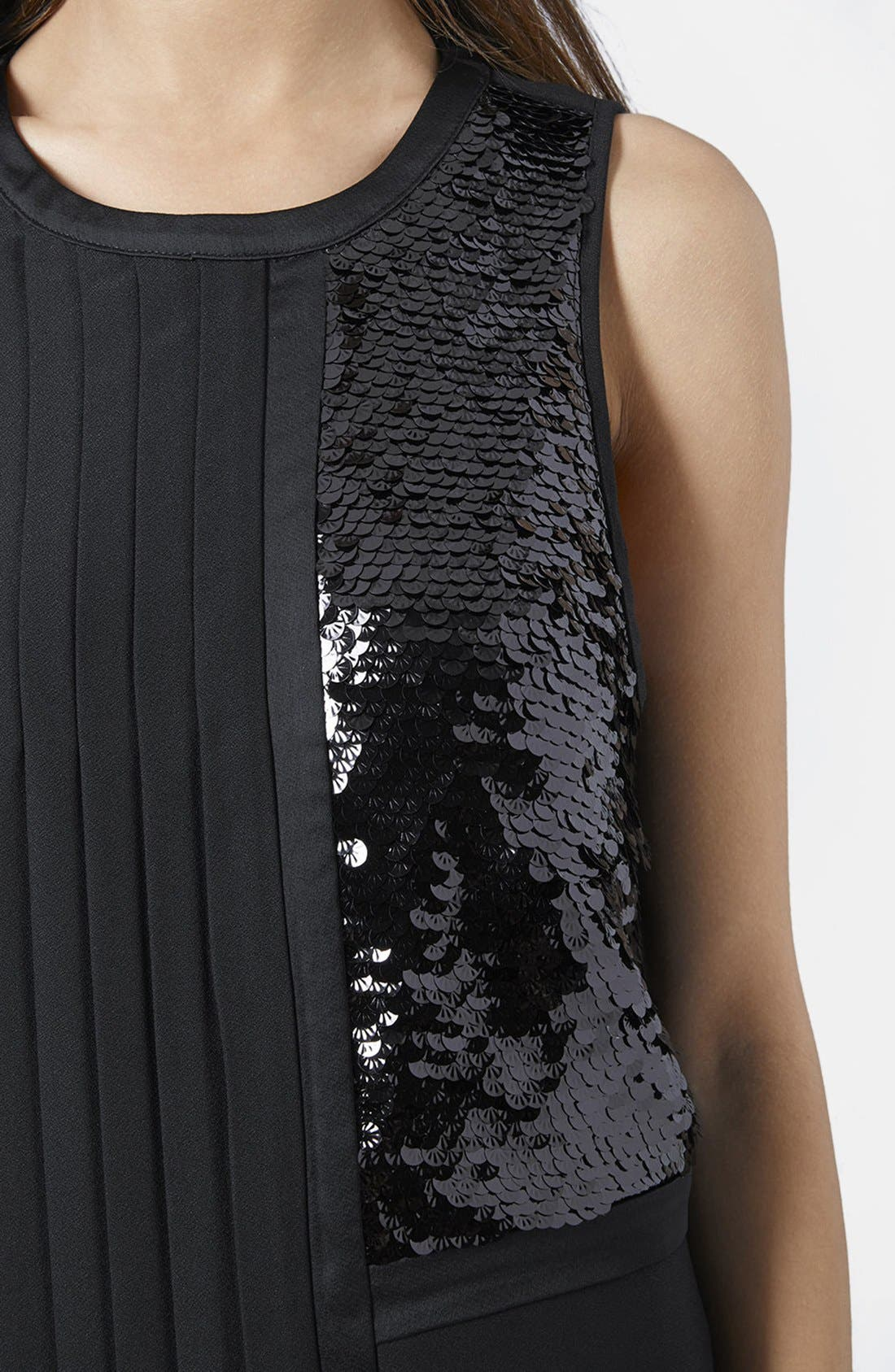 Alternate Image 4  - Topshop Sequin and Pleat Panel Shift Dress