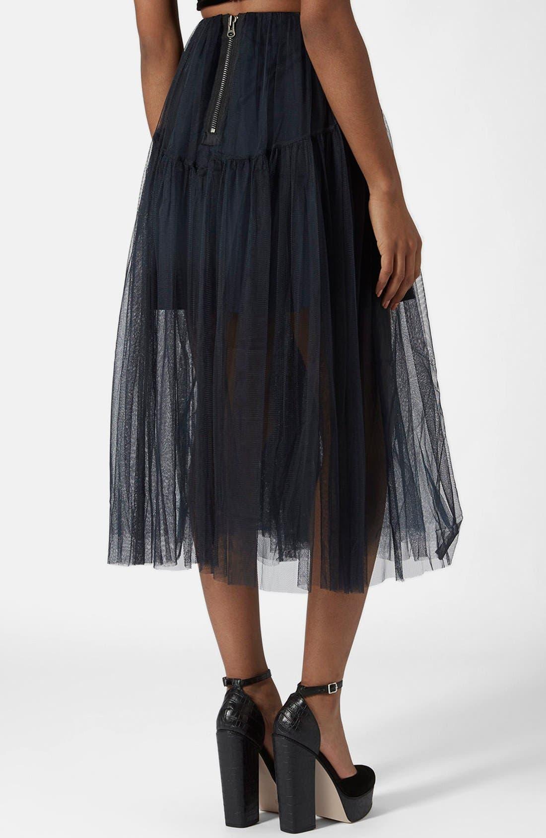 Alternate Image 2  - Topshop Layered Mesh Skirt