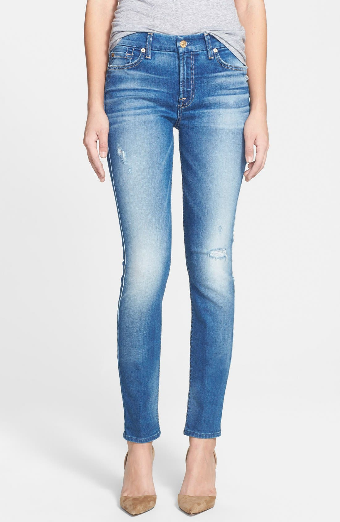 Main Image - 7 For All Mankind® Mid Rise Skinny Jeans (Beautiful Skies)