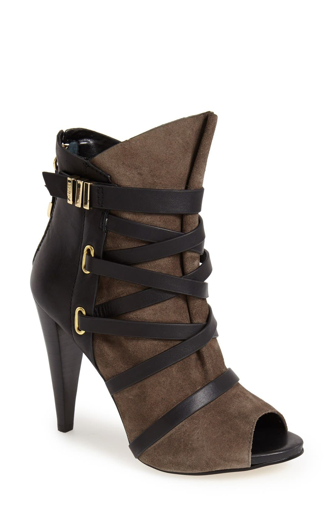 Alternate Image 1 Selected - Guess 'Candie' Peep Toe Leather Bootie (Women)