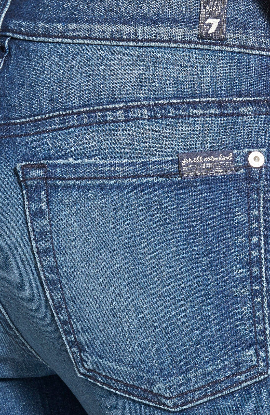Alternate Image 3  - 7 For All Mankind® 'The Skinny' Mid Rise Jeans (Summit Blue)