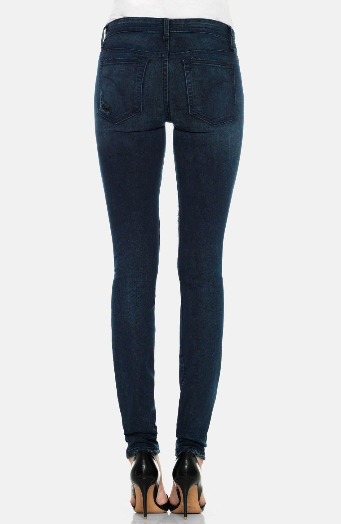 Alternate Image 2  - Joe's Destructed Mid Rise Skinny Jeans (Ellery)
