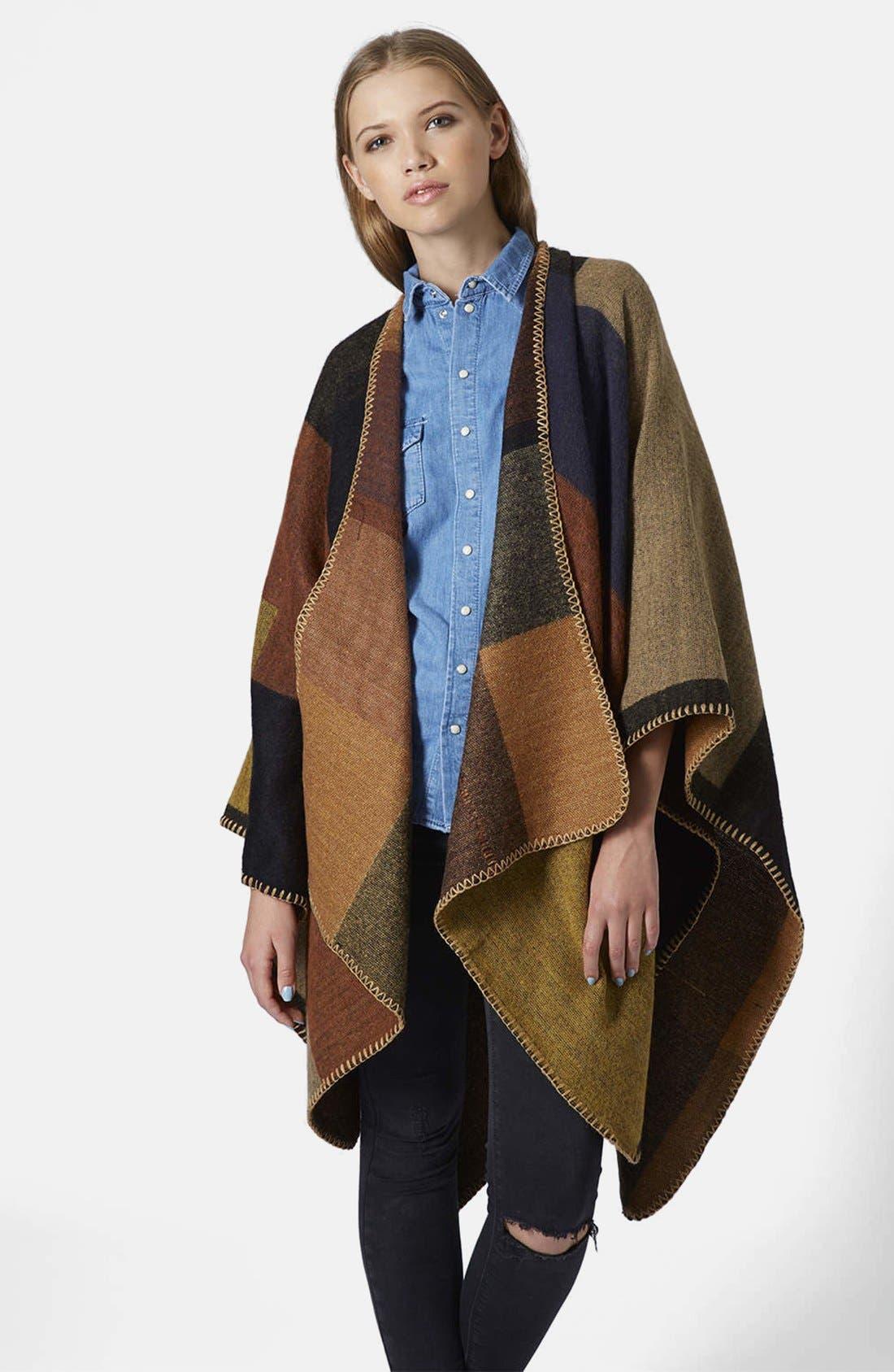 Alternate Image 1 Selected - Topshop Blanket Stitch Cape