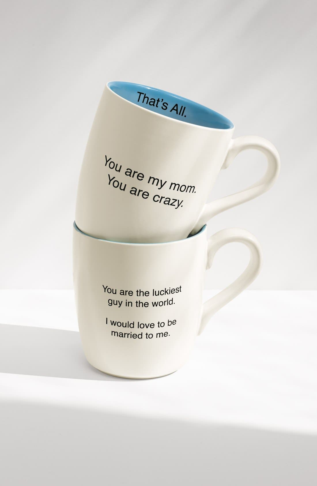 Alternate Image 2  - 'That's All - You Are the Luckiest Guy in the World. I Would Love to Be Married to Me' Mug