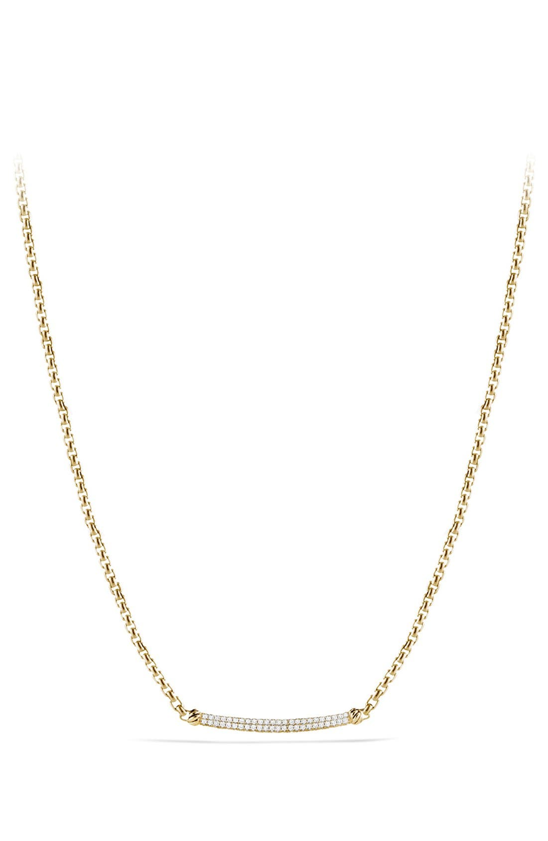 Main Image - David Yurman 'Petite Pavé' Metro Chain Necklace with Diamonds in Gold