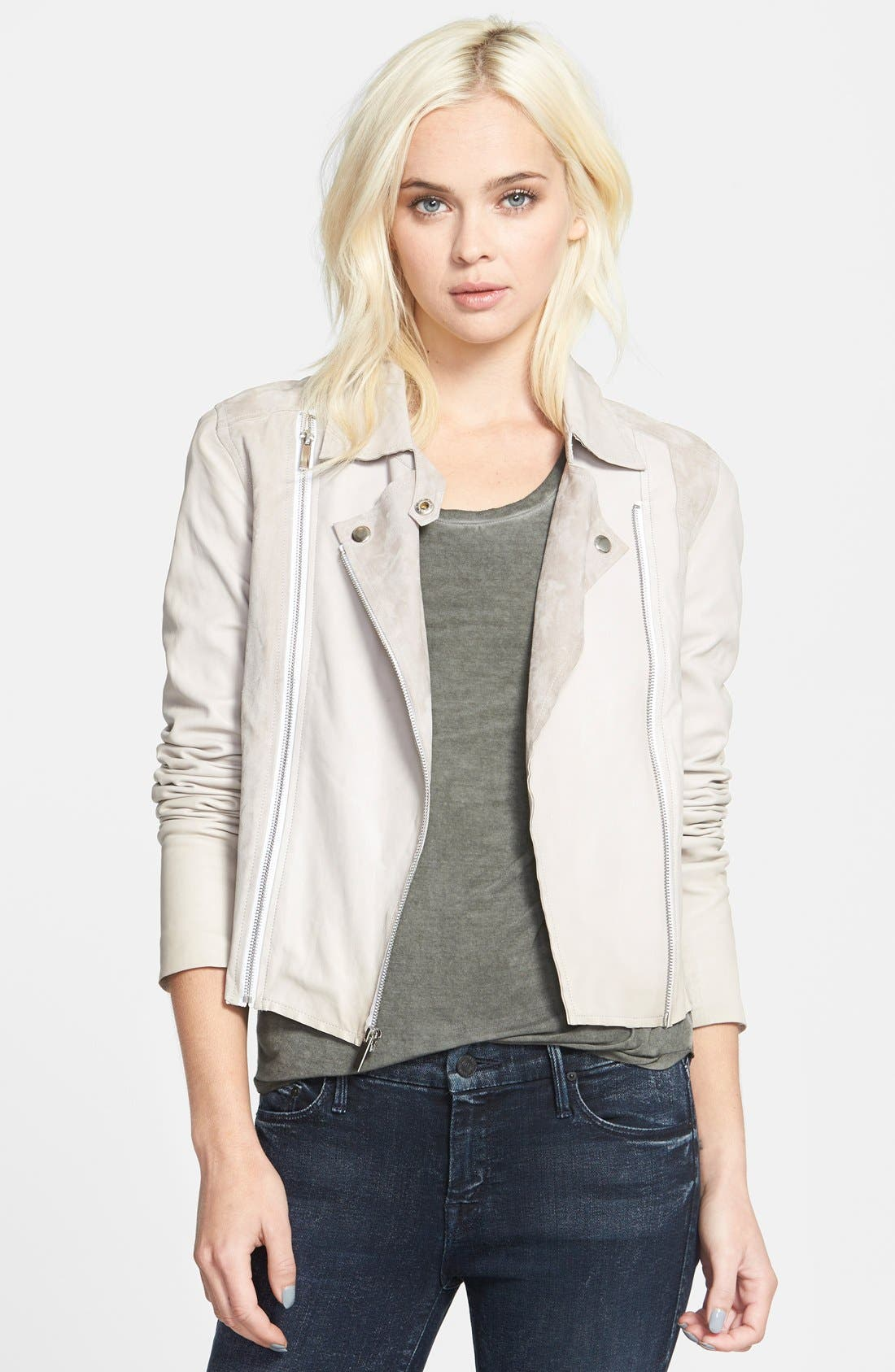 Alternate Image 1 Selected - Paige Denim 'Silvie' Suede & Leather Moto Jacket