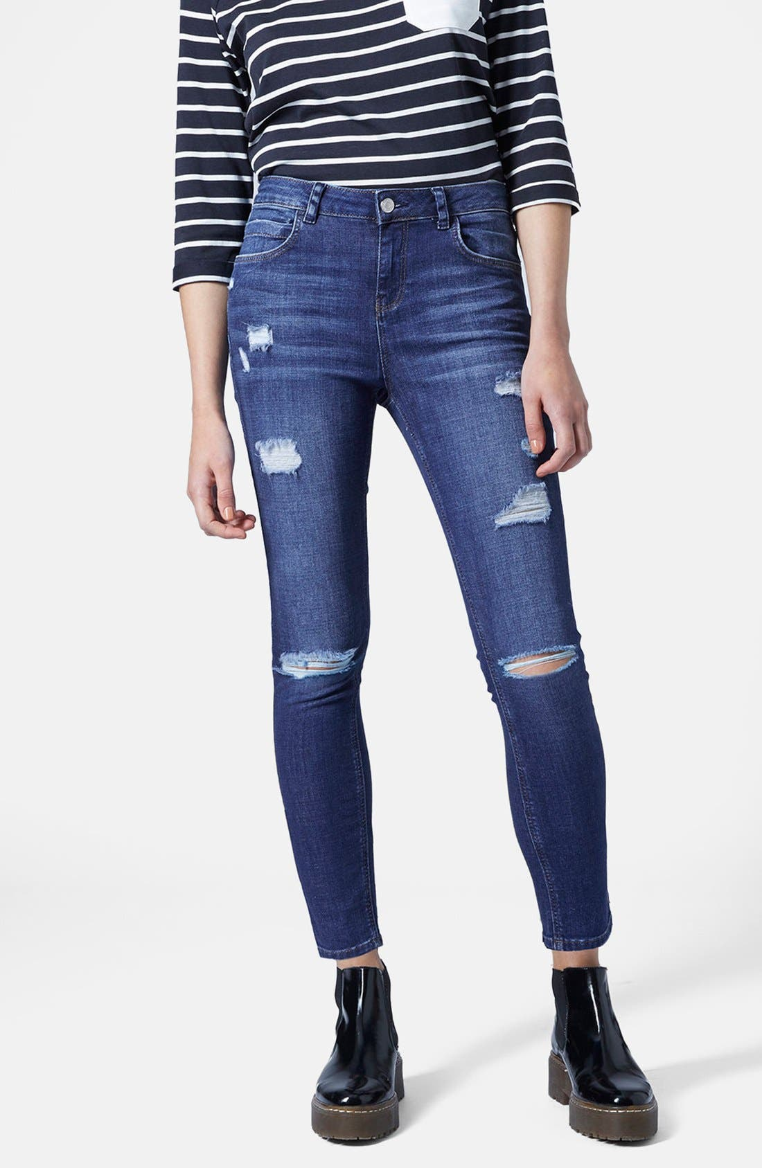 Alternate Image 1 Selected - Topshop Moto Ripped Skinny Jeans (Dark Denim) (Petite)