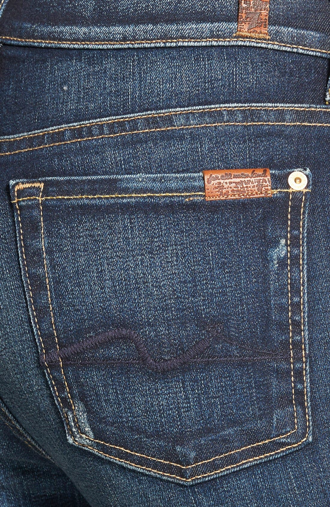 Alternate Image 3  - 7 For All Mankind® Mid Rise Skinny Jeans (Alpine Blue)
