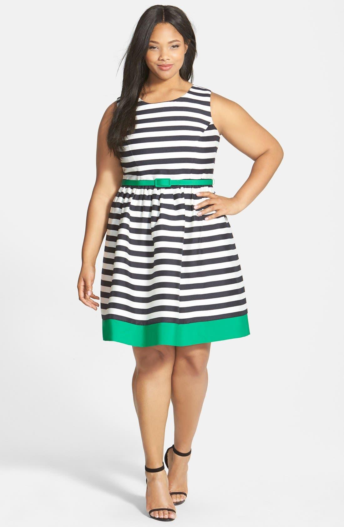 Alternate Image 4  - Eliza J Contrast Trim Stripe Jacquard Fit & Flare Dress (Plus Size)