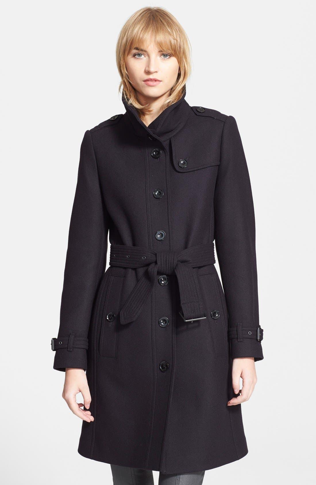 Main Image - Burberry Brit 'Rushfield' Wool Blend Stand Collar Coat