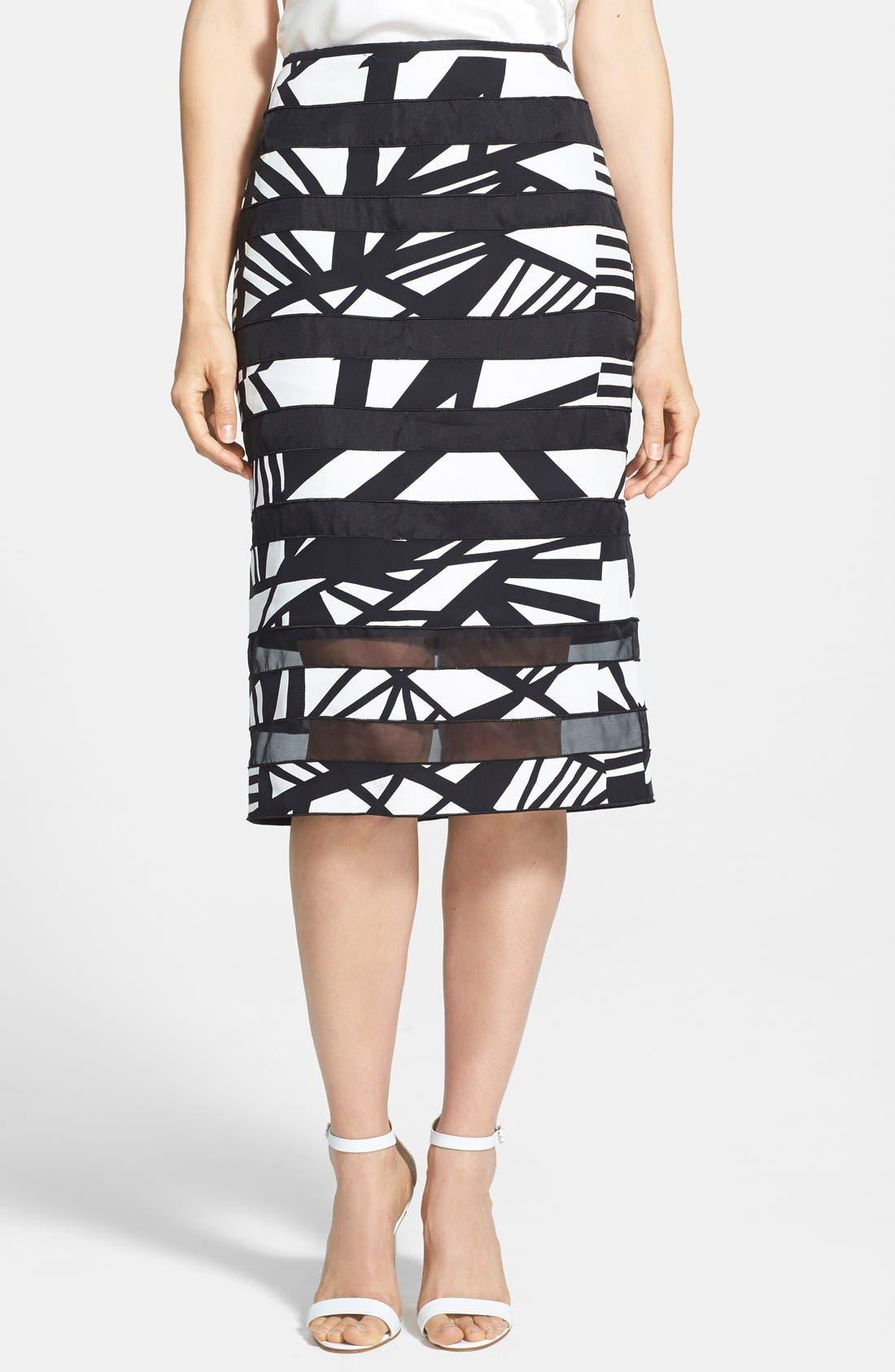 Main Image - Lafayette 148 New York 'Modmix' Print Silk Pencil Skirt