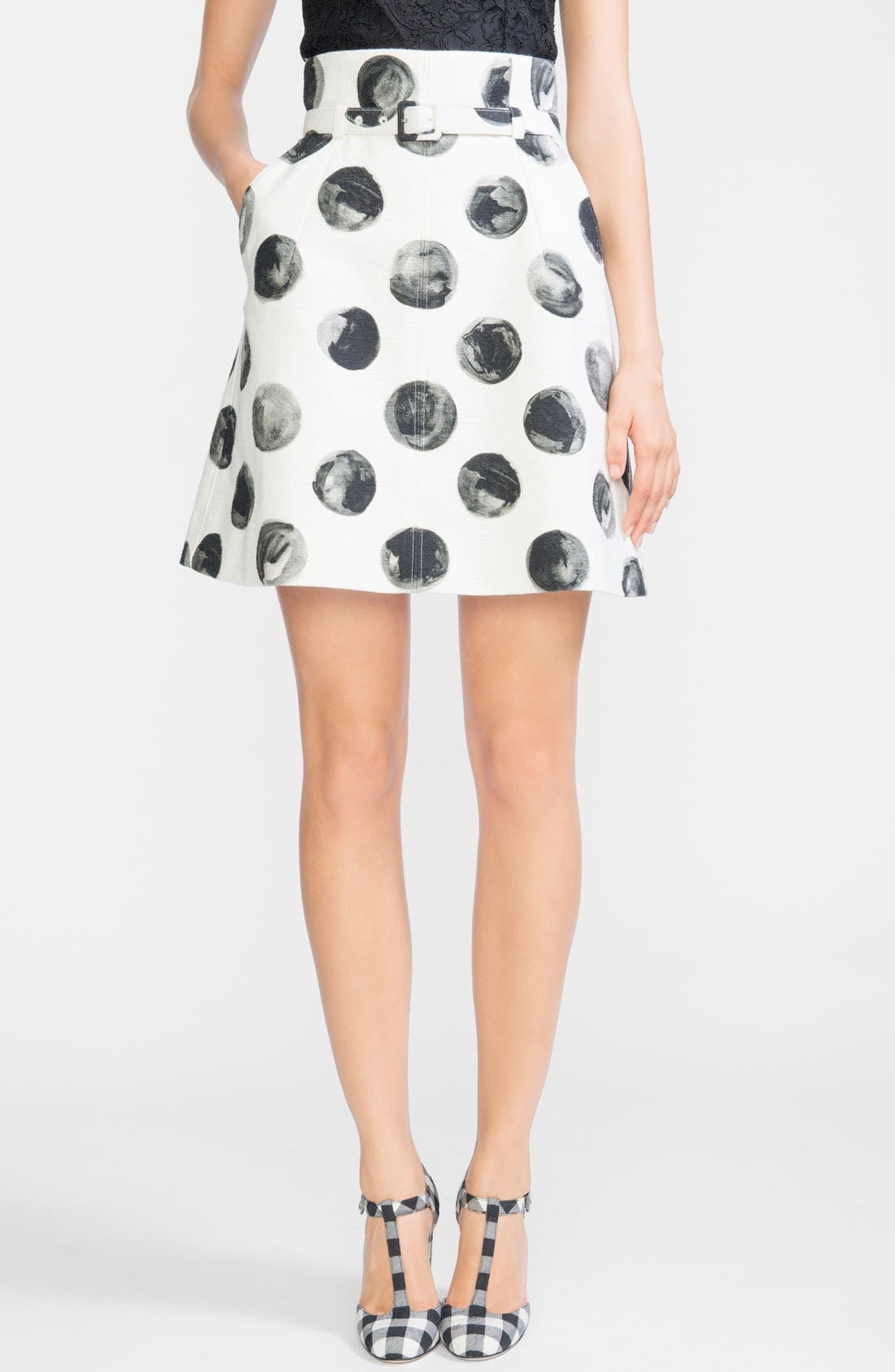Main Image - Dolce&Gabbana Dot Print Cotton A-Line Skirt with Belt