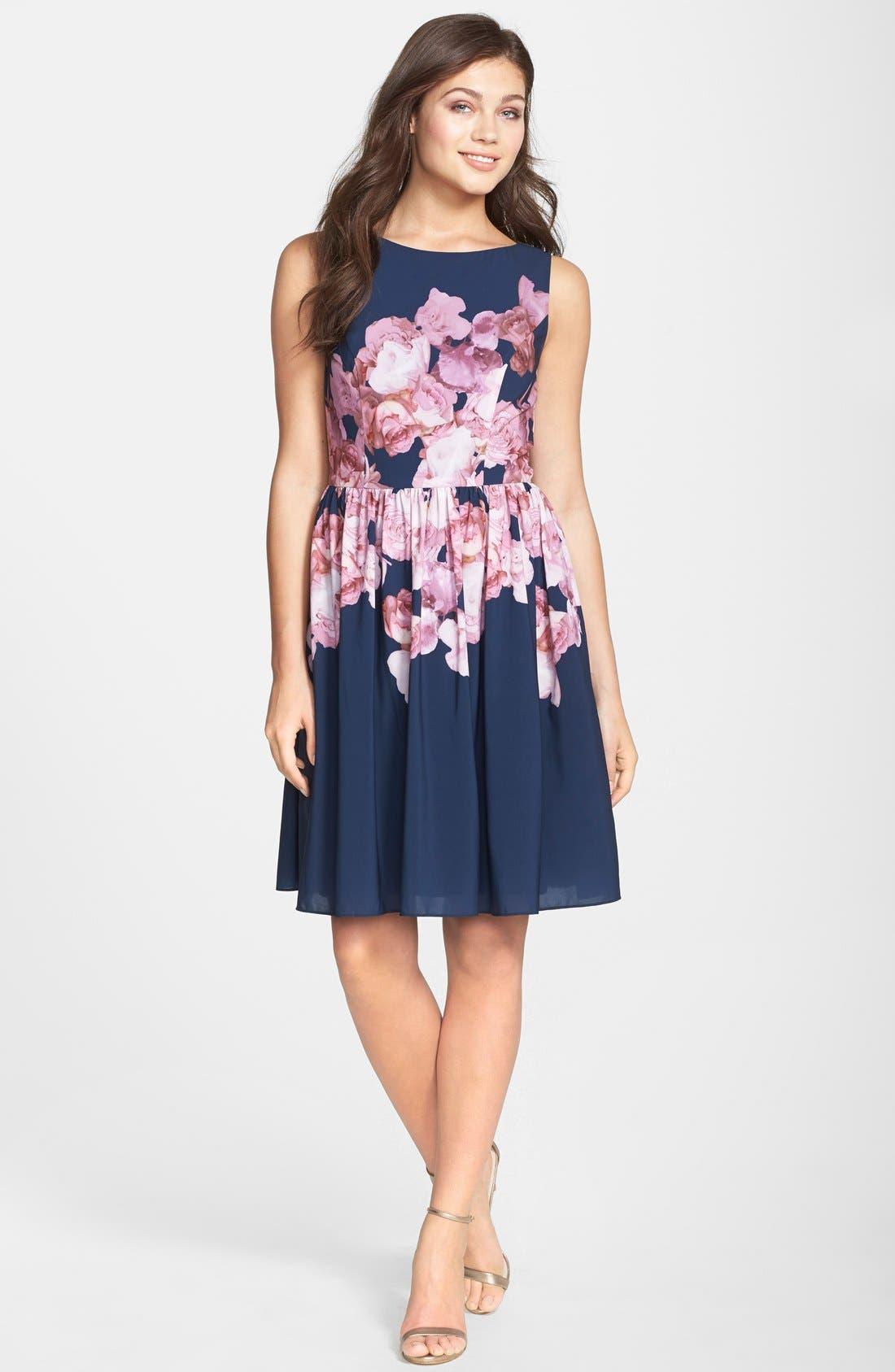 Alternate Image 3  - Adrianna Papell Floral Print Chiffon Fit & Flare Dress (Regular & Petite)