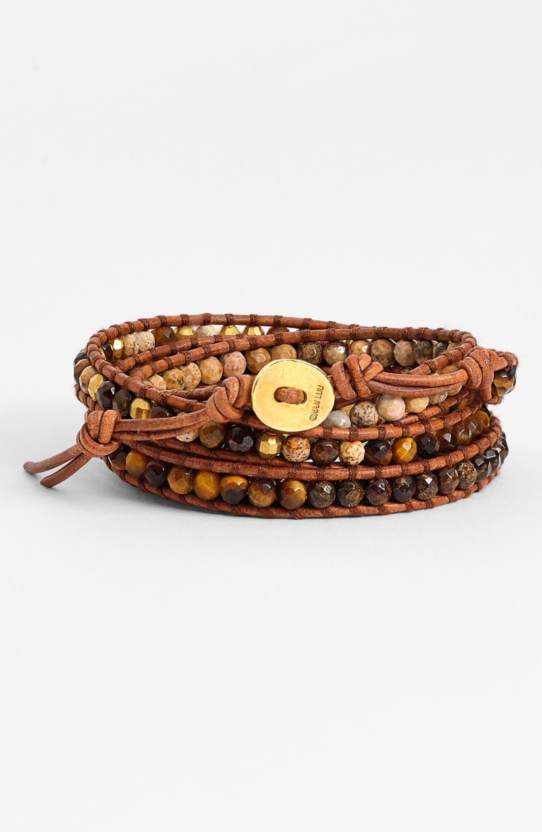 Alternate Image 1 Selected - Chan Luu Stone Bead Leather Wrap Bracelet
