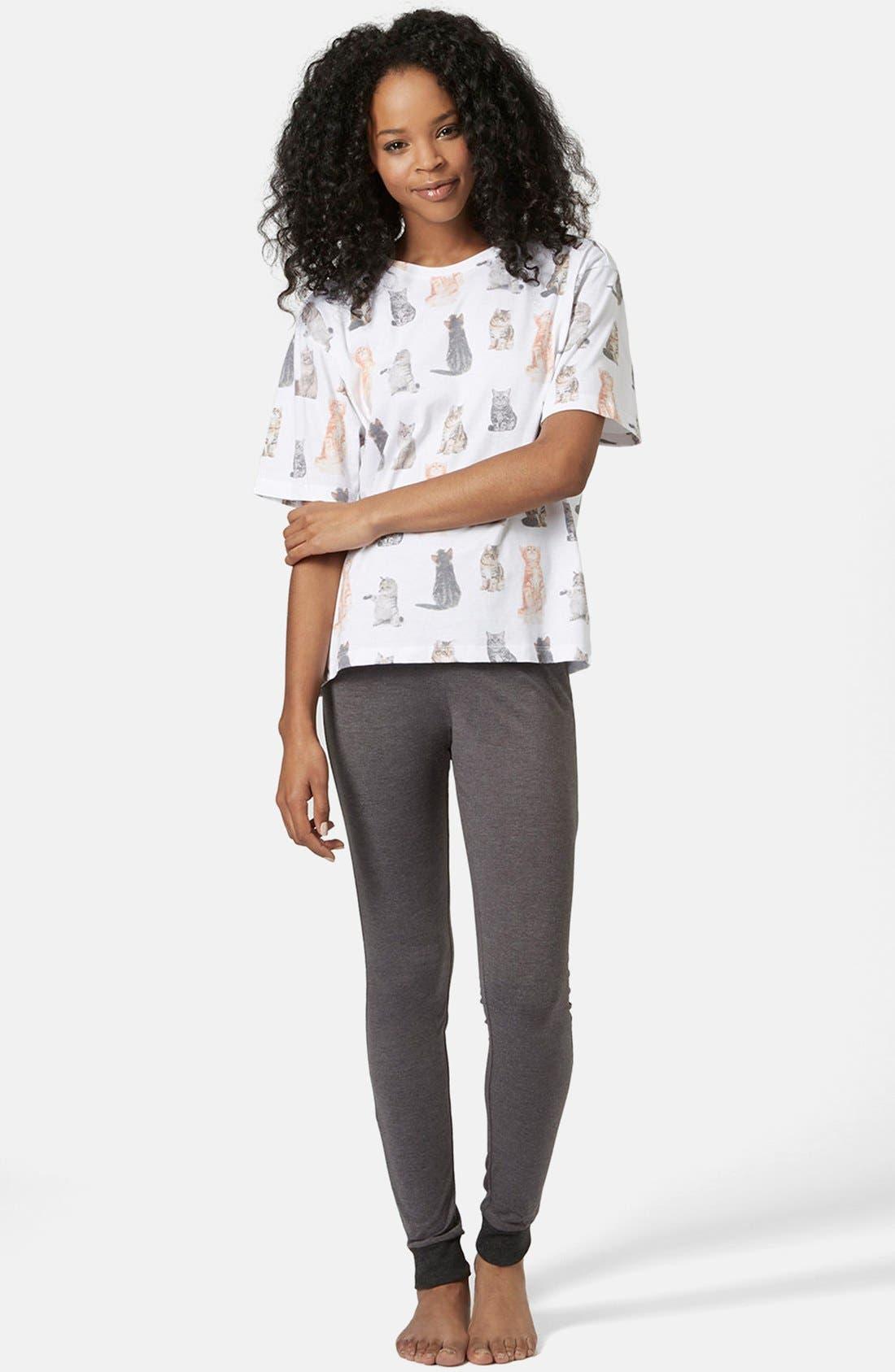 Alternate Image 1 Selected - Topshop Cat Print Pajama Set