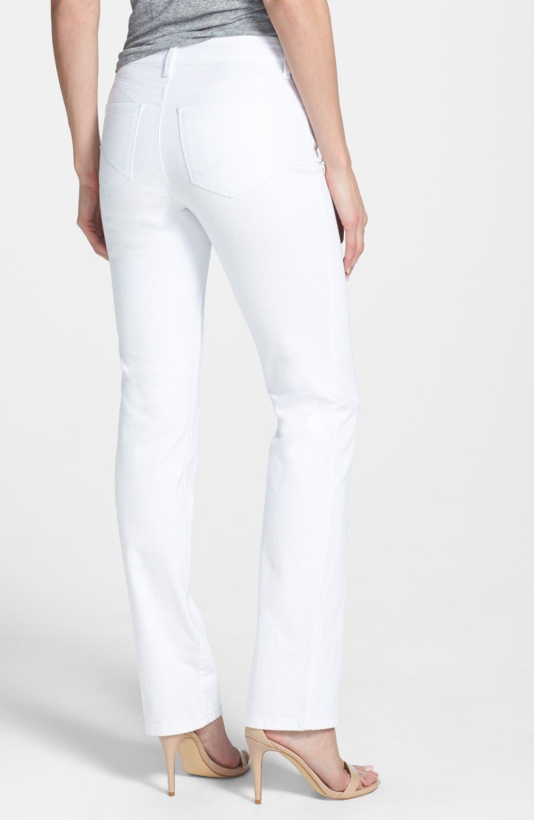 Alternate Image 2  - NYDJ 'Marilyn' Stretch Straight Leg Jeans (Optic White) (Regular & Petite)
