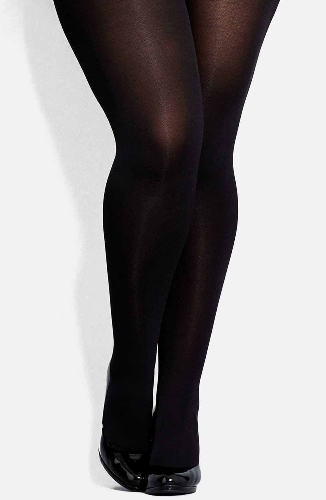 Alternate Image 1 Selected - City Chic 120 Denier Black Opaque Tights (Plus Size)
