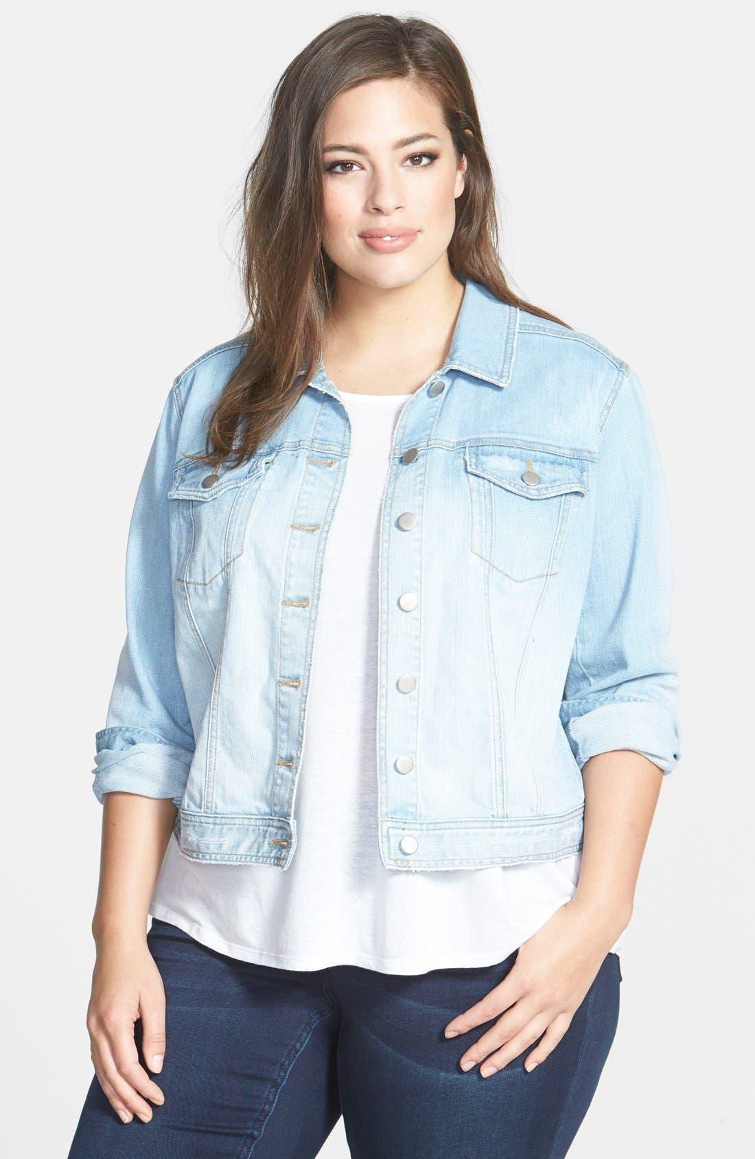 Main Image - Sejour 'Bluejay' Crop Denim Jacket (Plus Size)
