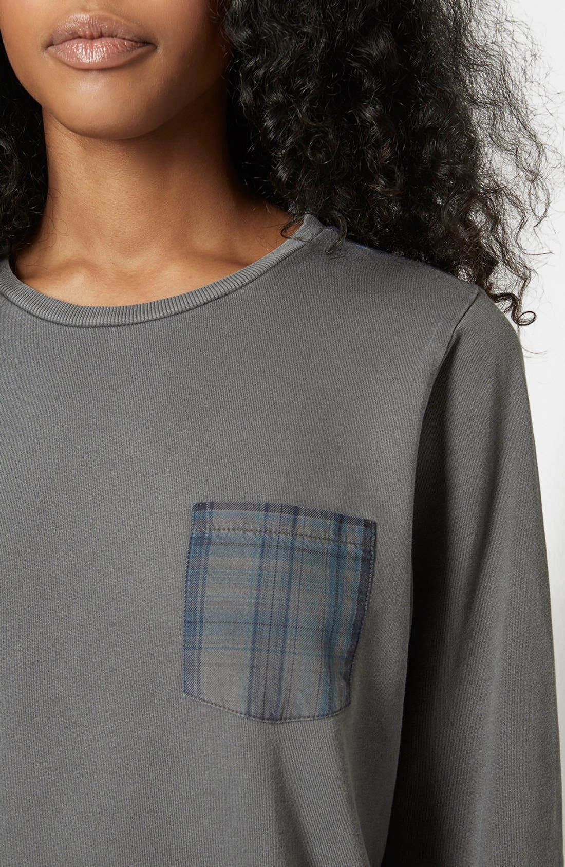 Alternate Image 4  - Topshop Check Contrast Sweater