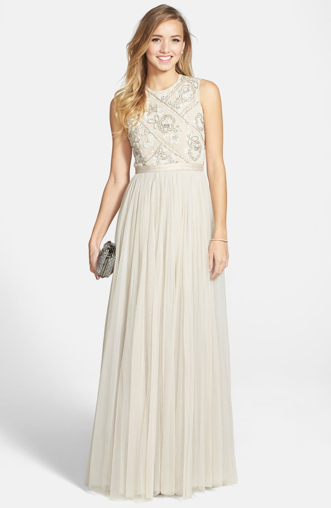 Main Image - Needle & Thread Embellished A-Line Gown
