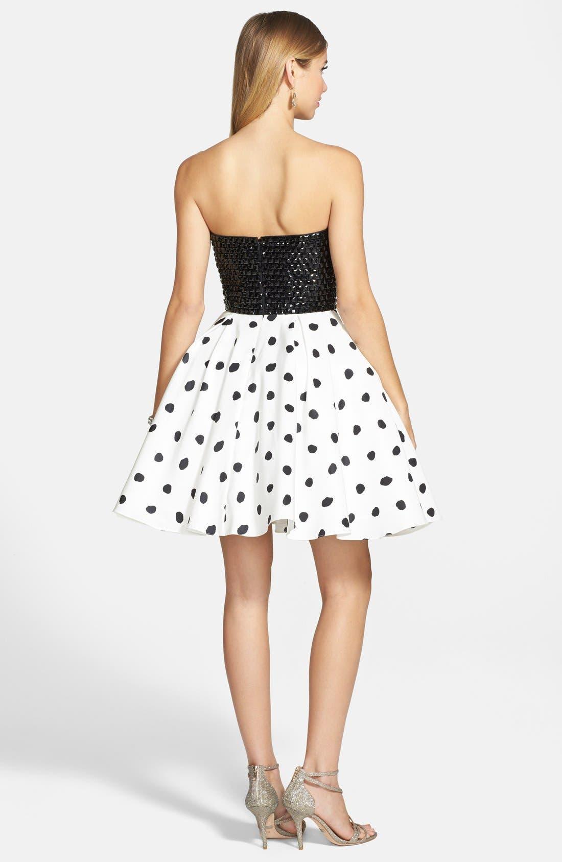 Alternate Image 2  - Sherri Hill Embellished Polka Dot Strapless Fit & Flare Dress
