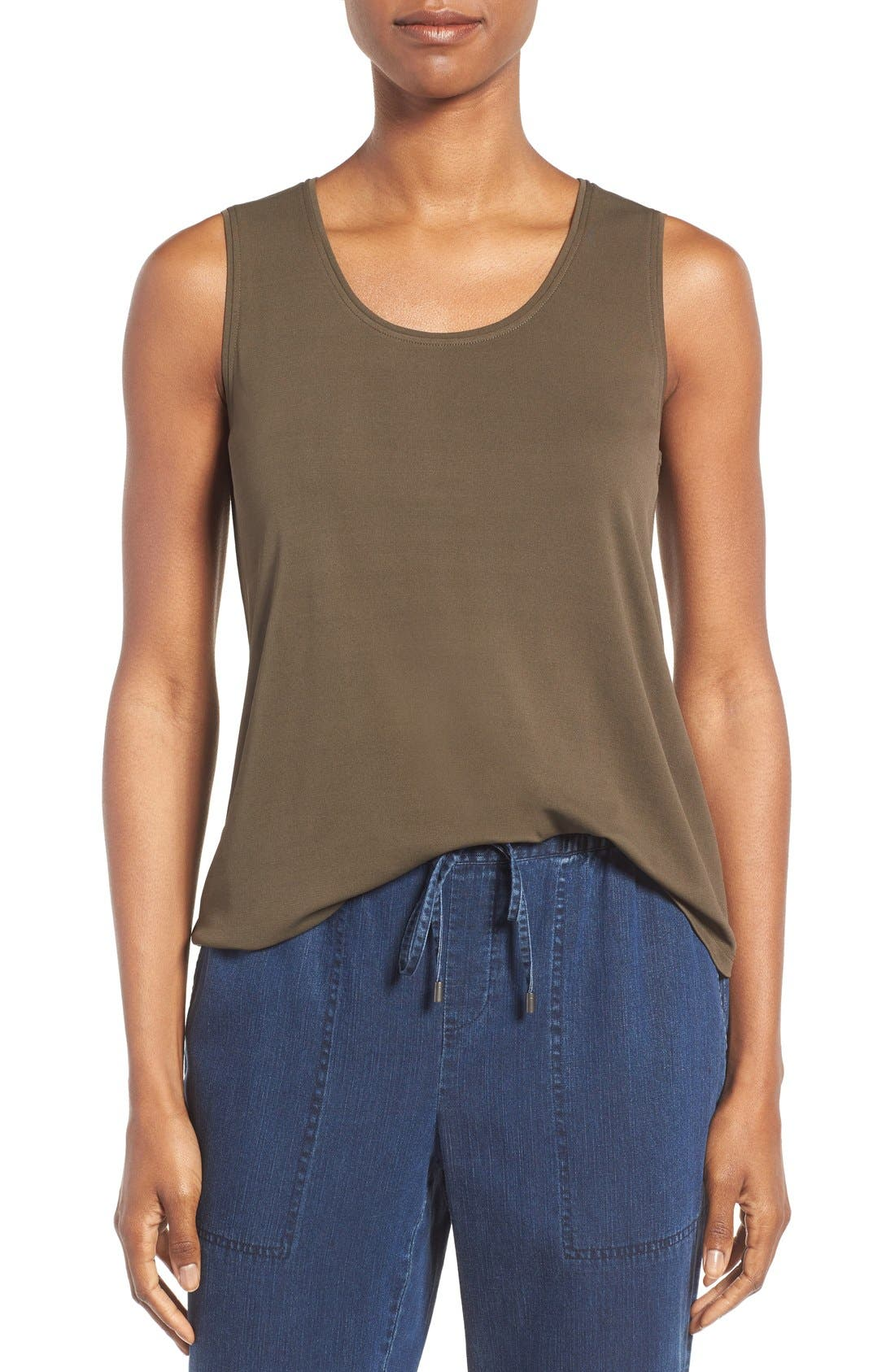 Alternate Image 1 Selected - Eileen Fisher Silk Jersey Tank (Regular & Petite) (Online Only)