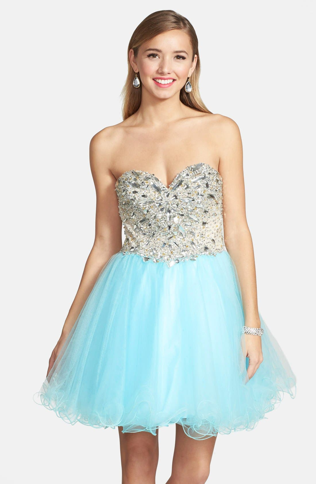 Alternate Image 1 Selected - Terani Couture Embellished Tulle Strapless Fit & Flare Dress