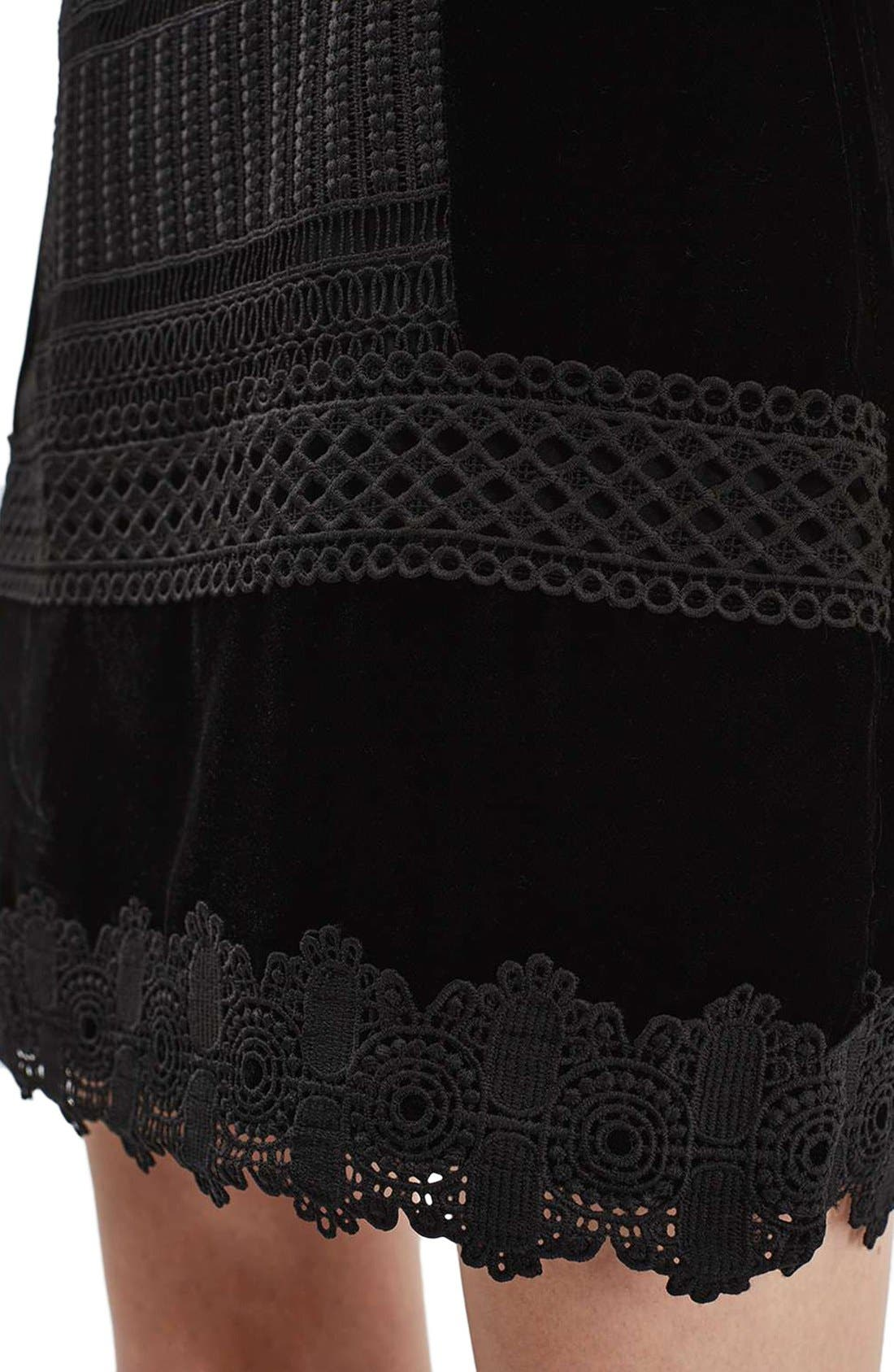 Alternate Image 5  - Topshop Velvet & Lace Miniskirt