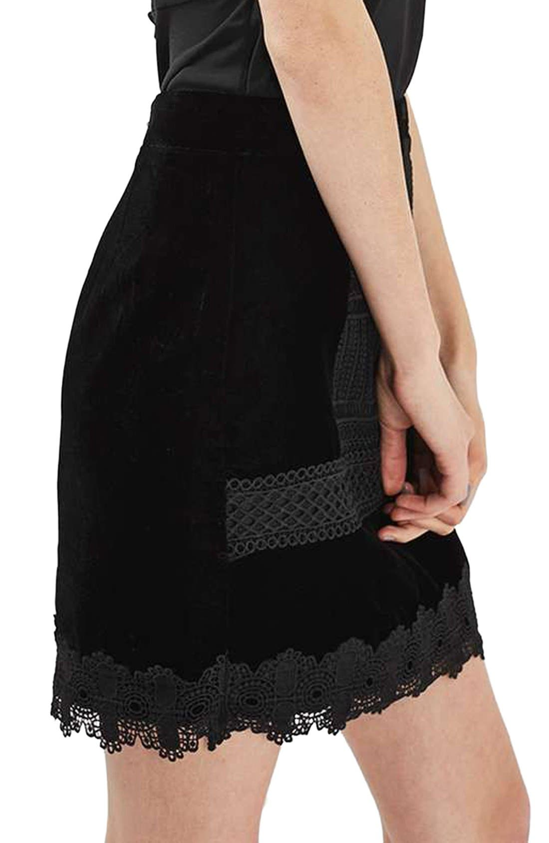 Main Image - Topshop Velvet & Lace Miniskirt
