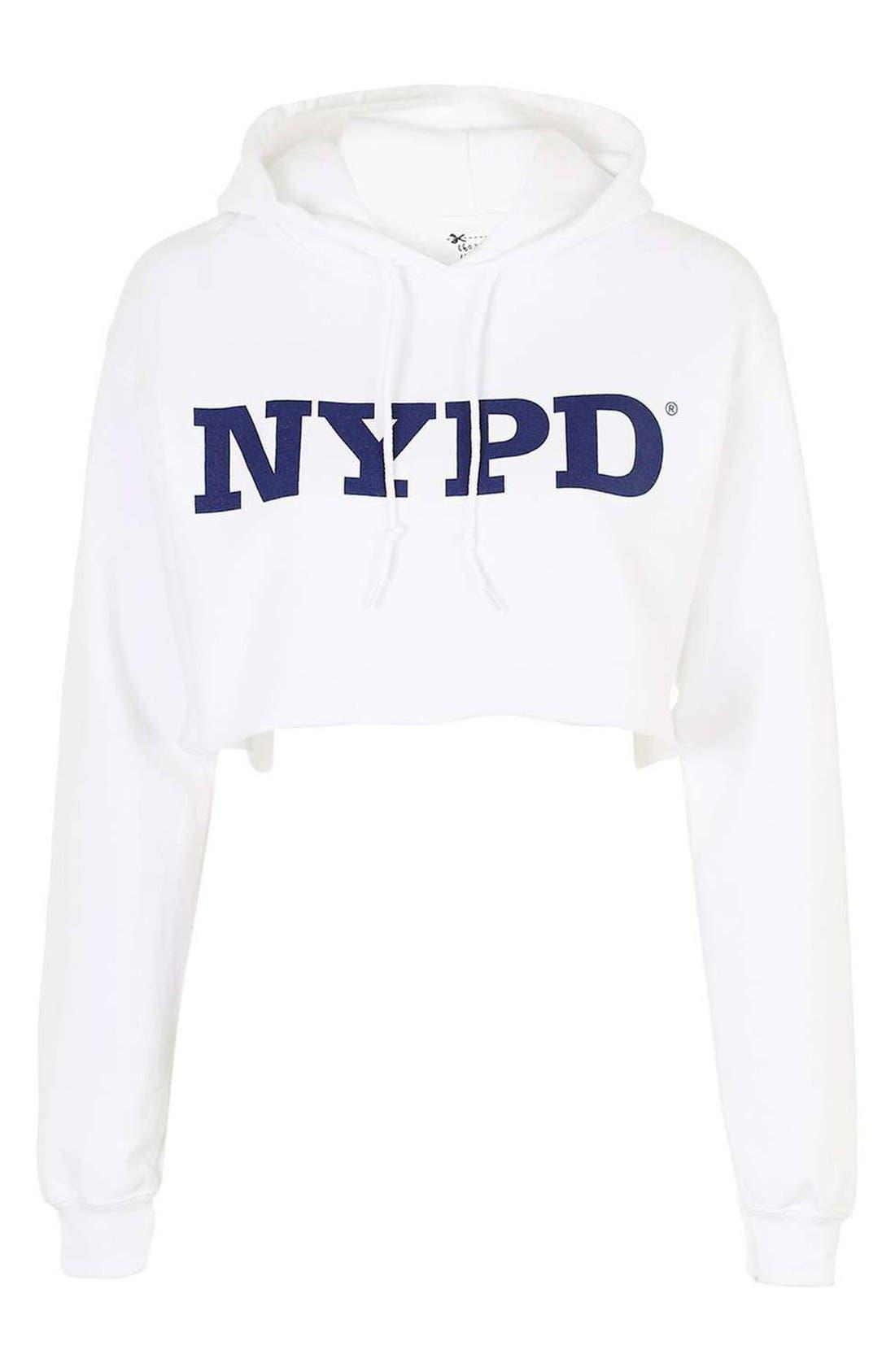Alternate Image 4  - Topshop by Tee & Cake NYPD Crop Hoodie