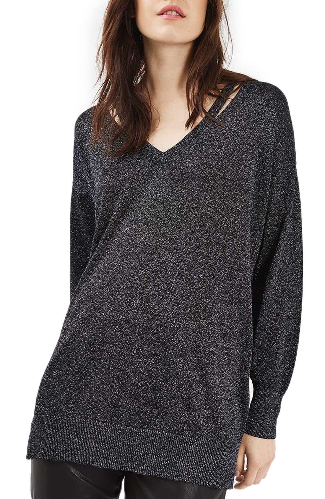 Main Image - Topshop Slash Neck Metallic Sweater
