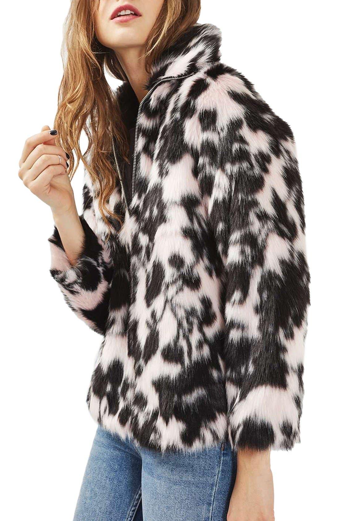 Main Image - Topshop Sweet Dreams Faux Fur Coat