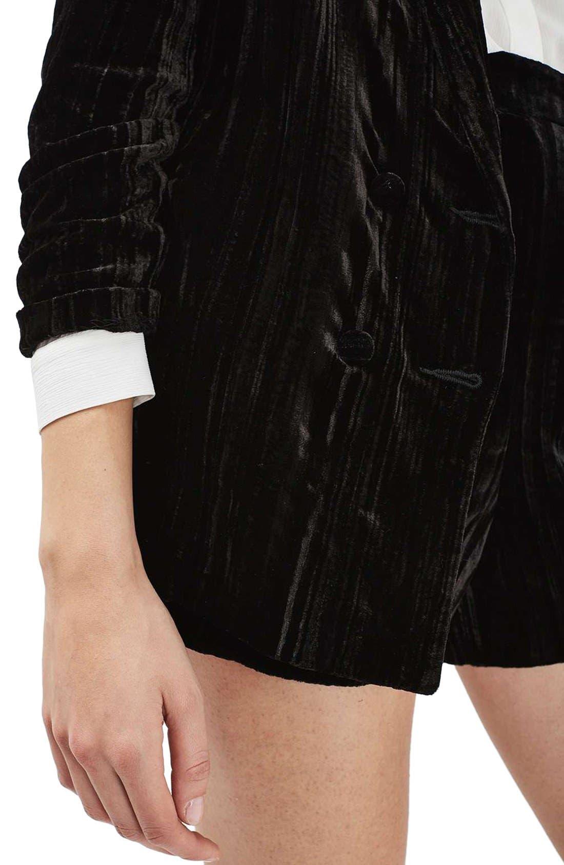 Alternate Image 5  - Topshop Pleat Velvet Blazer