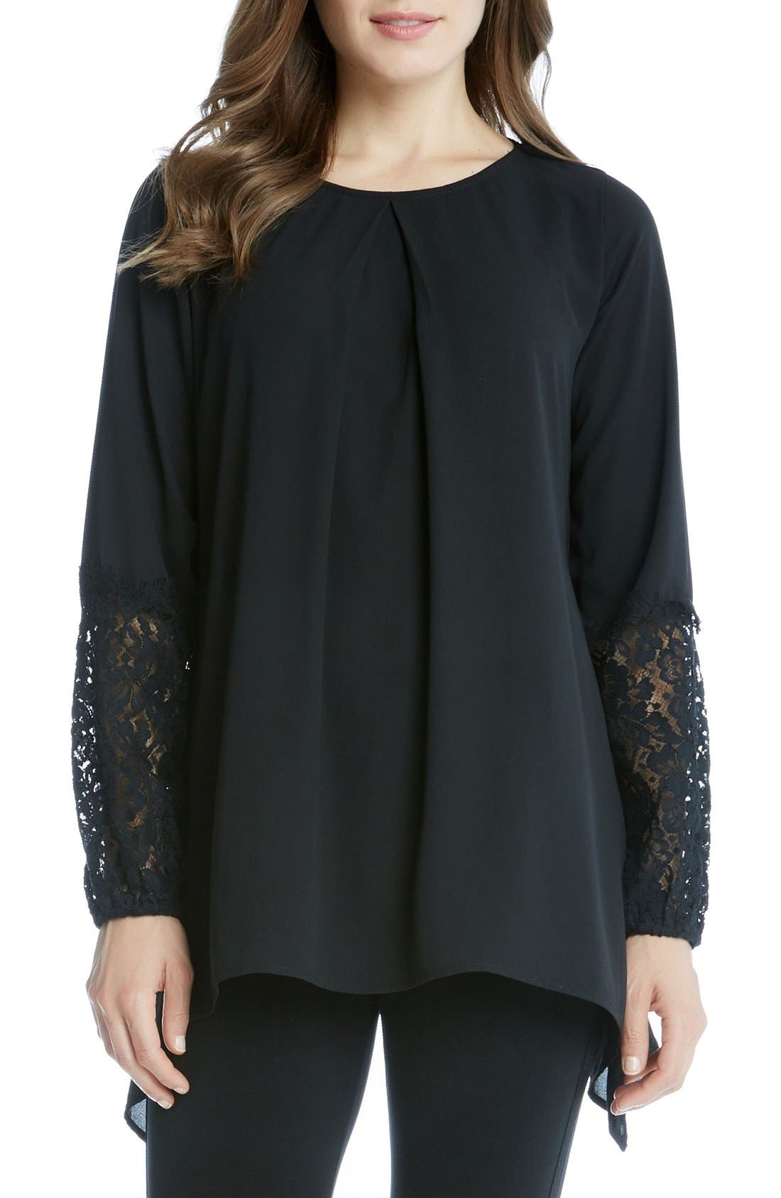 Main Image - Karen Kane Lace Sleeve Handkerchief Top