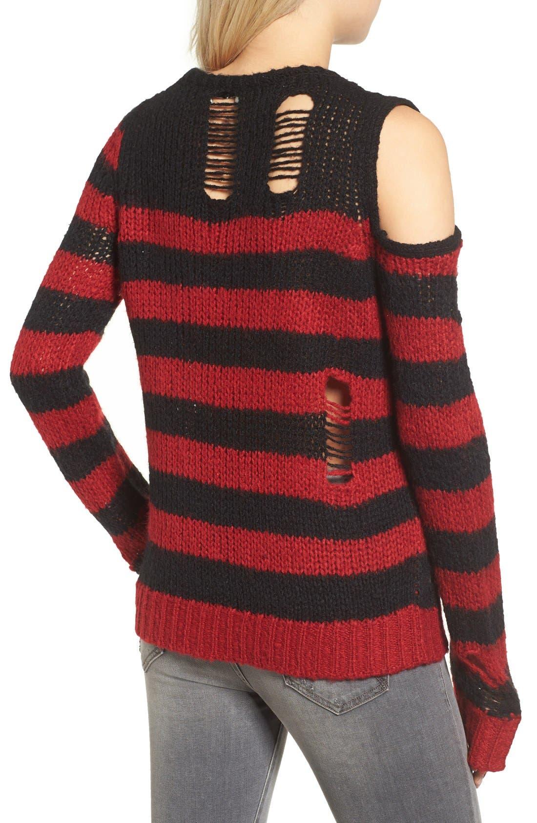 Alternate Image 2  - Pam & Gela Stripe Open Knit Sweater