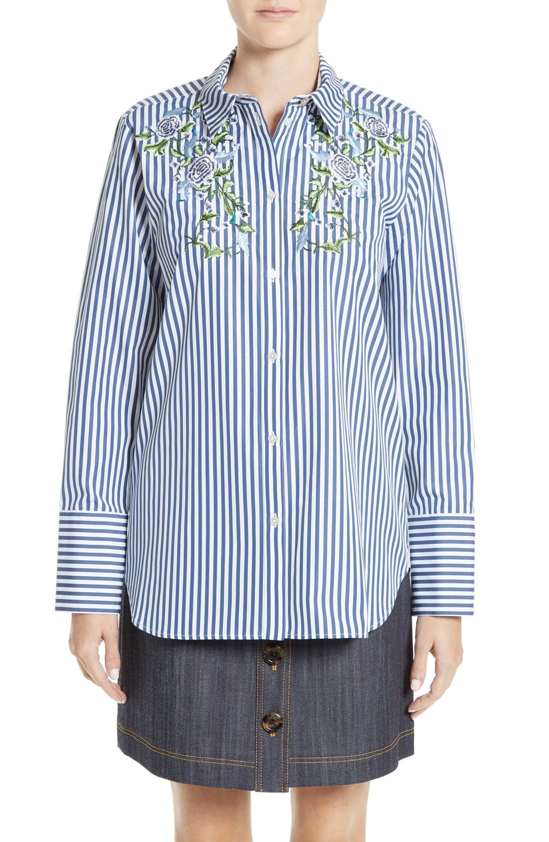 ADAM LIPPES Floral Embroidered Shirt