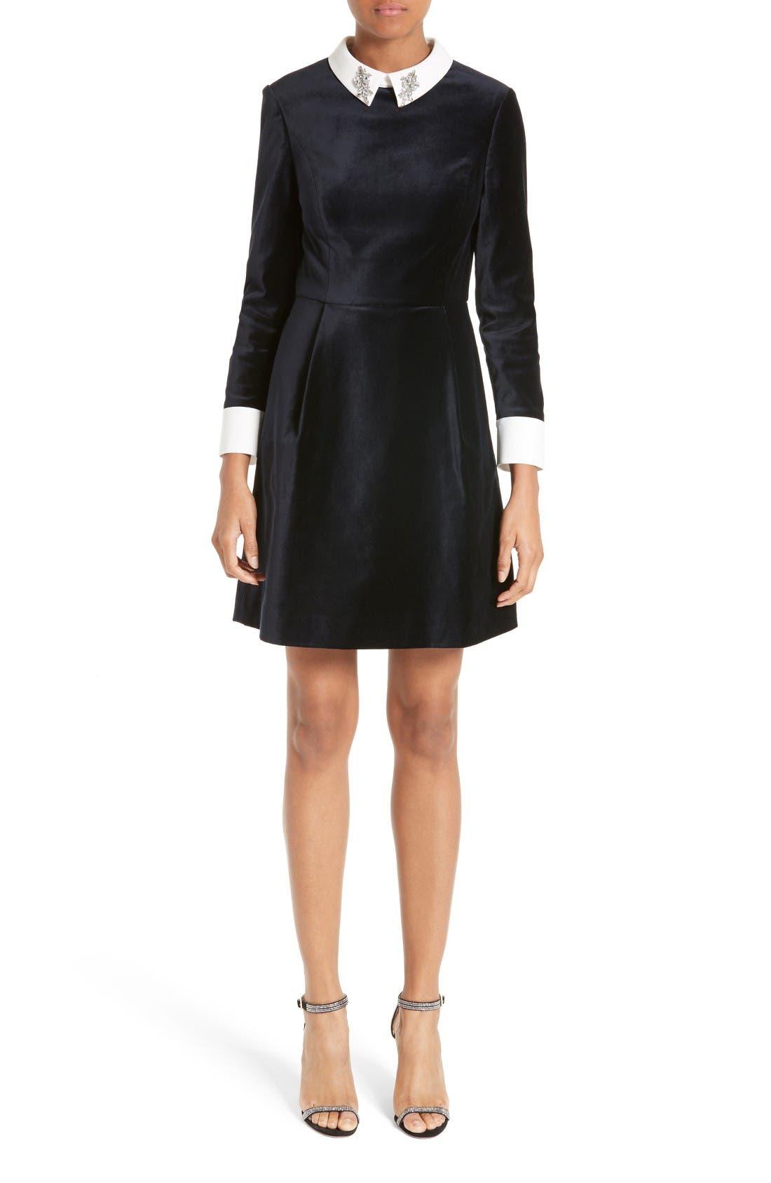 Main Image - Ted Baker London Cheryll Embellished Collar Velvet Dress