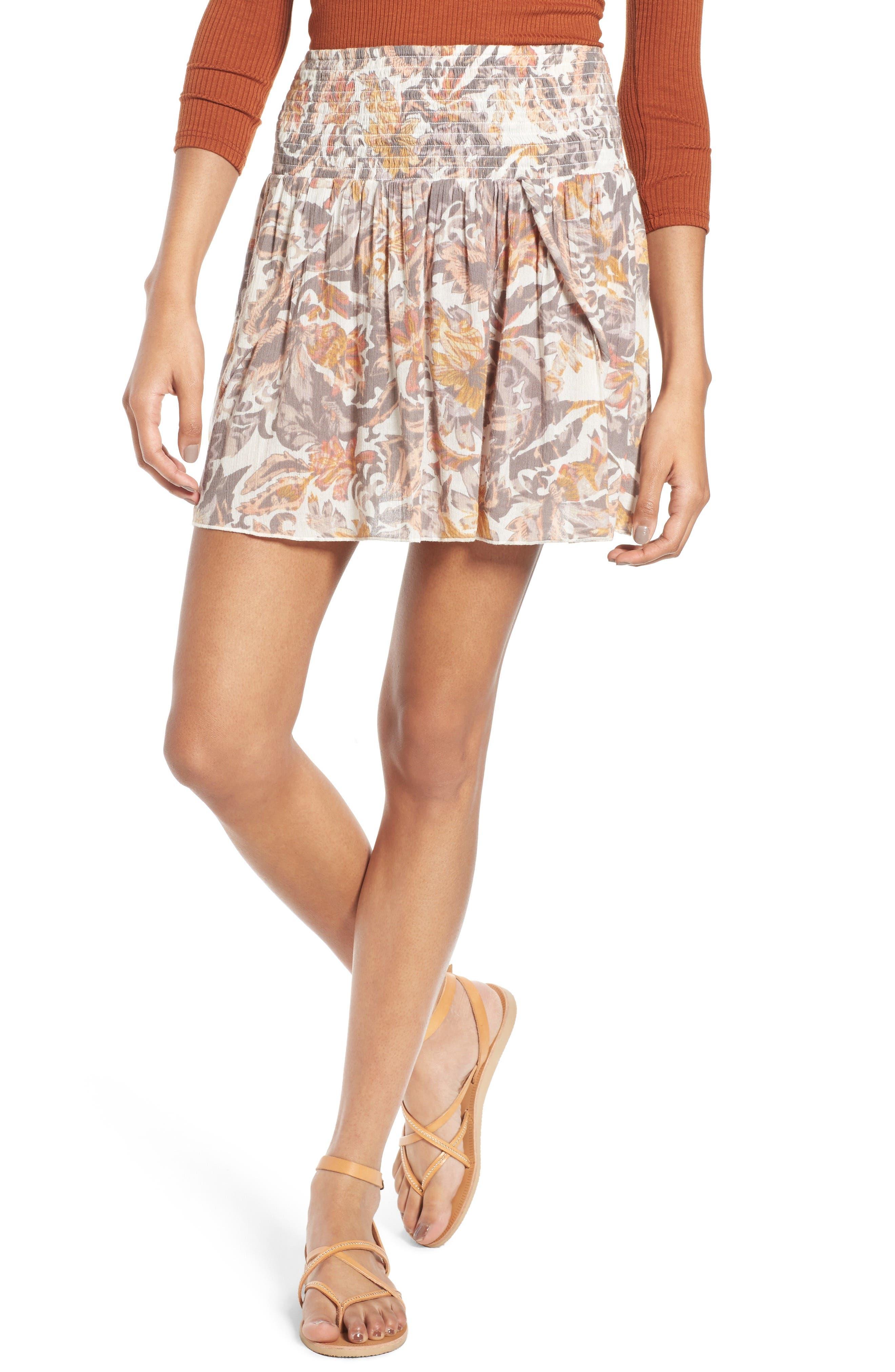 Main Image - Sun & Shadow Print Smocked Waist Skirt