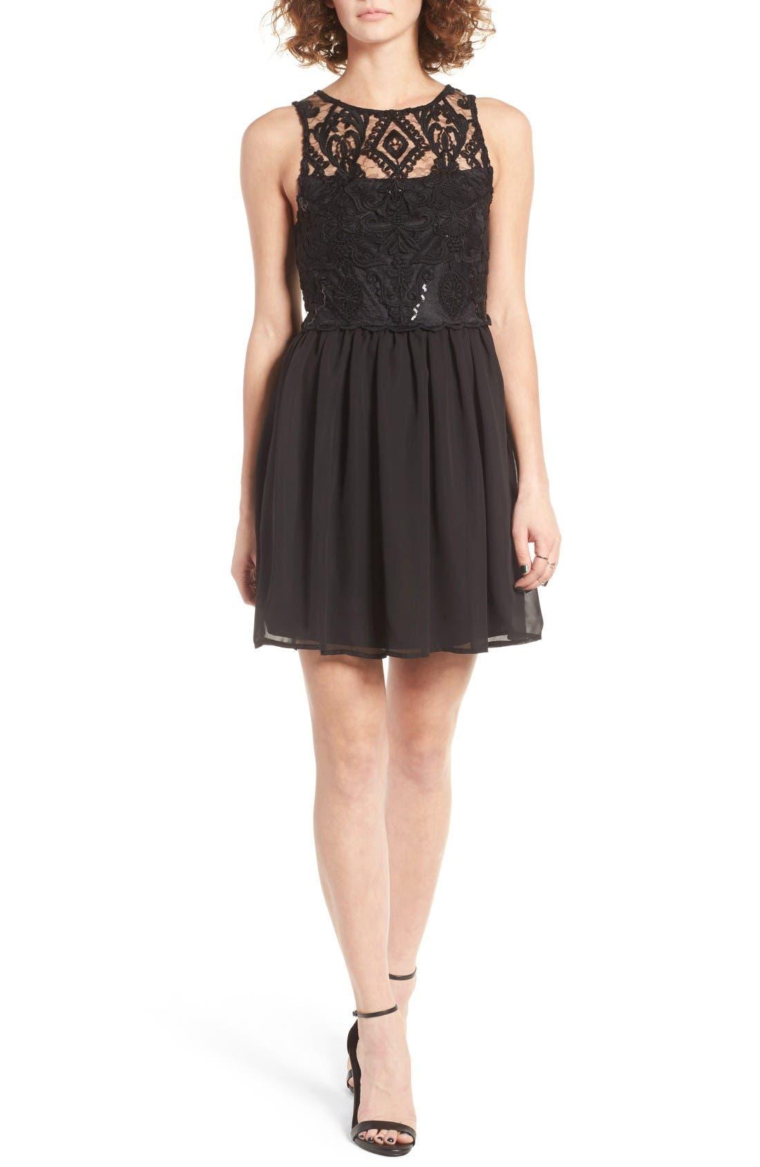 Main Image - Trixxi Embellished Lace Skater Dress