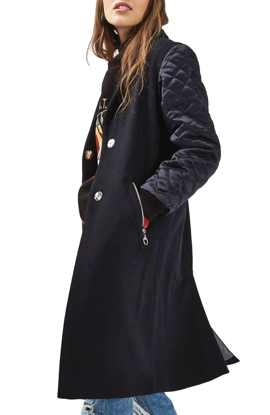 Main Image - Topshop Quilted Sleeve Wool Blend Coat