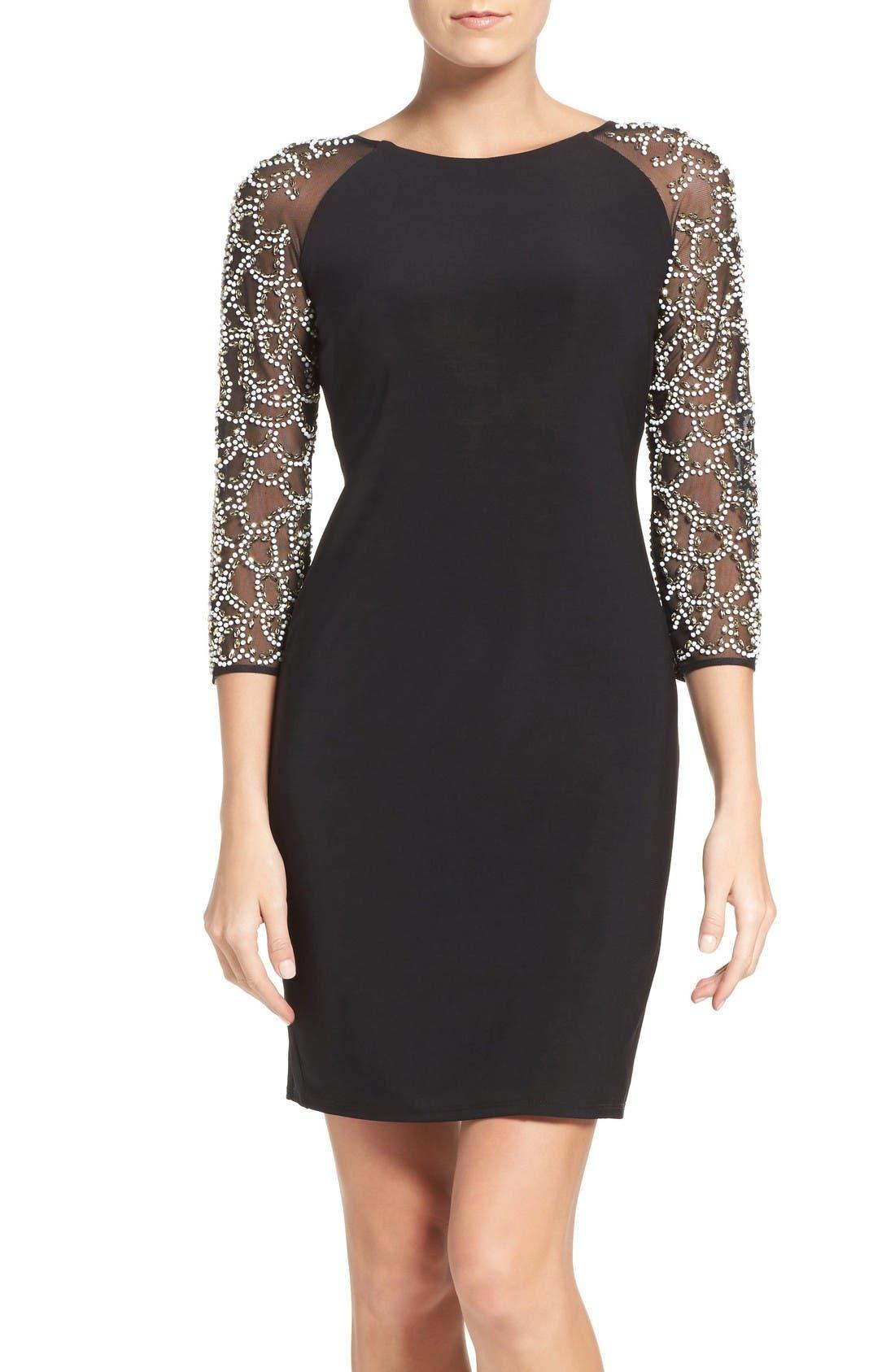 CHETTA B Embellished Sheer Three Quarter Sleeve Dress