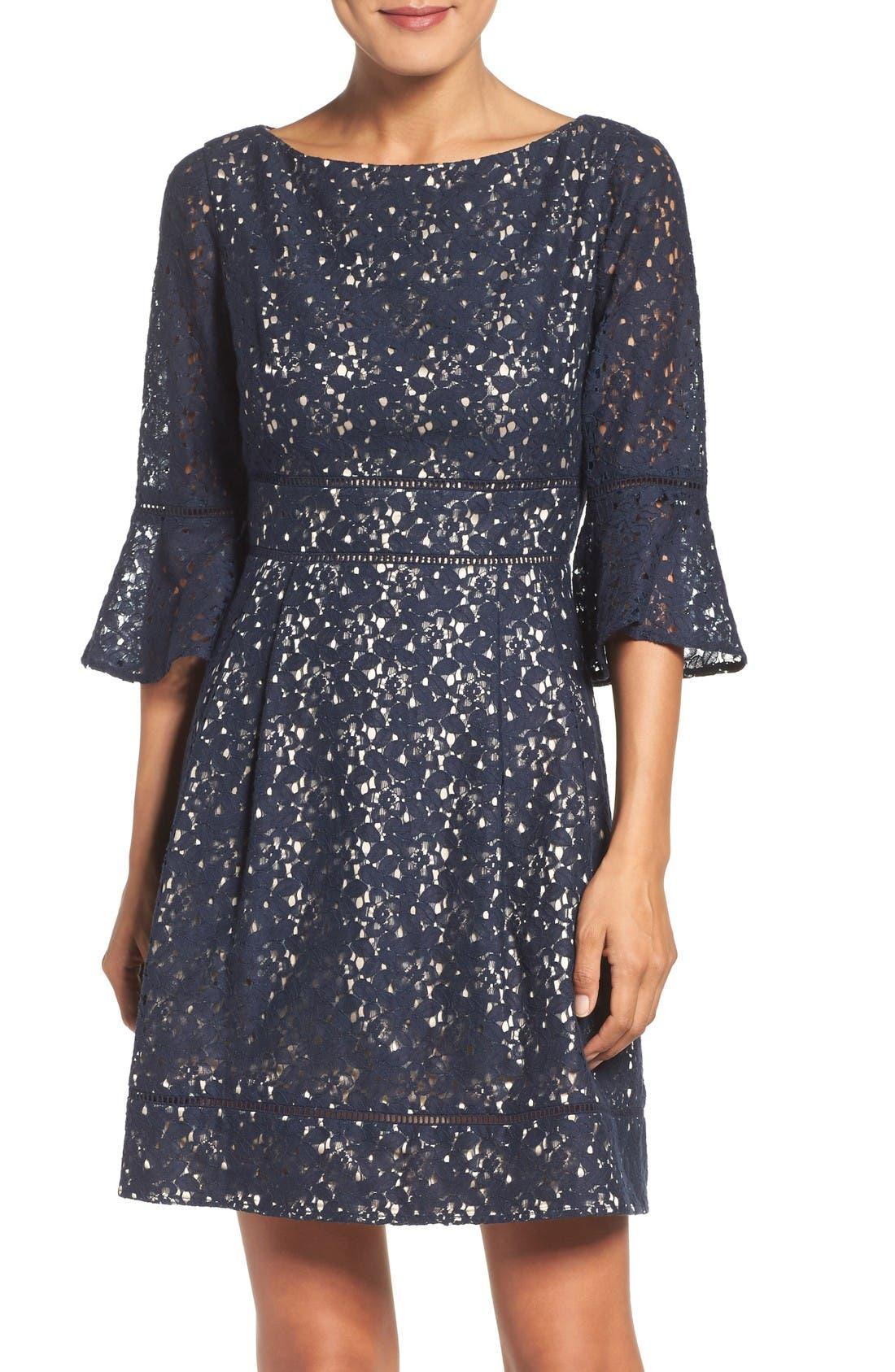 Main Image - Eliza J Lace Fit & Flare Dress (Regular & Petite)