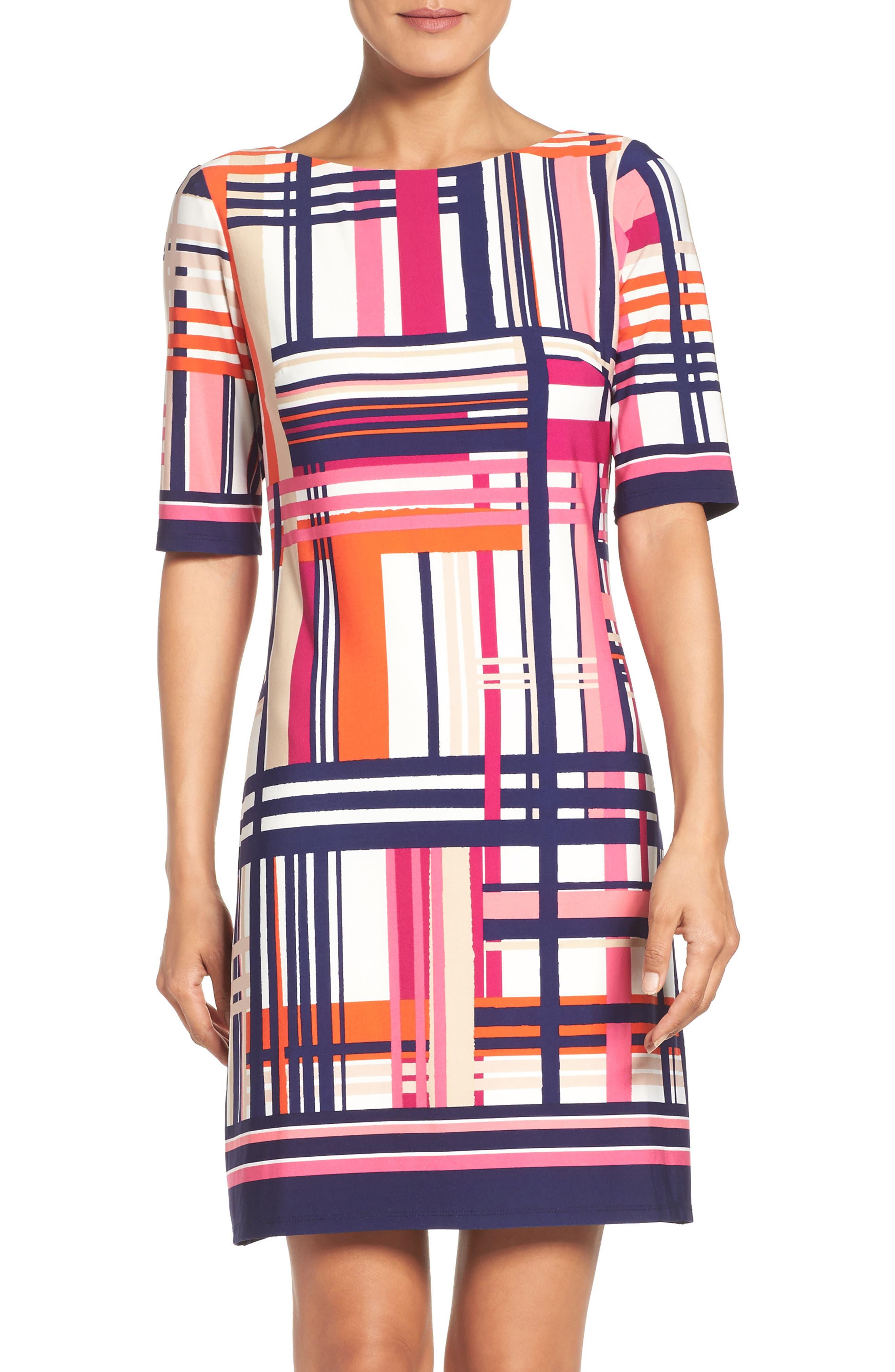 Main Image - Eliza J Print Jersey Elbow Sleeve Shift Dress (Regular & Petite)