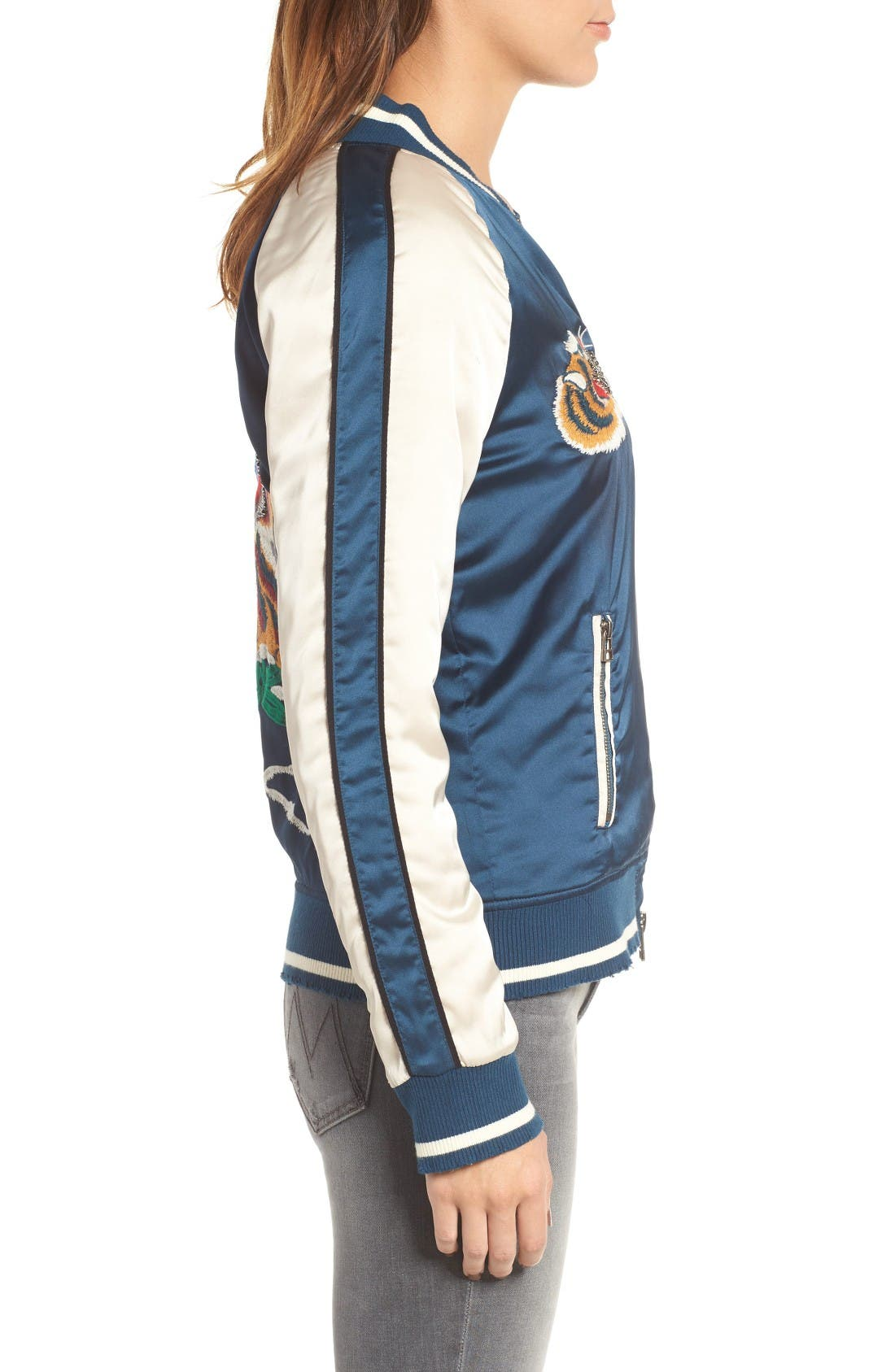 Alternate Image 3  - Pam & Gela Embroidered Satin Bomber Jacket
