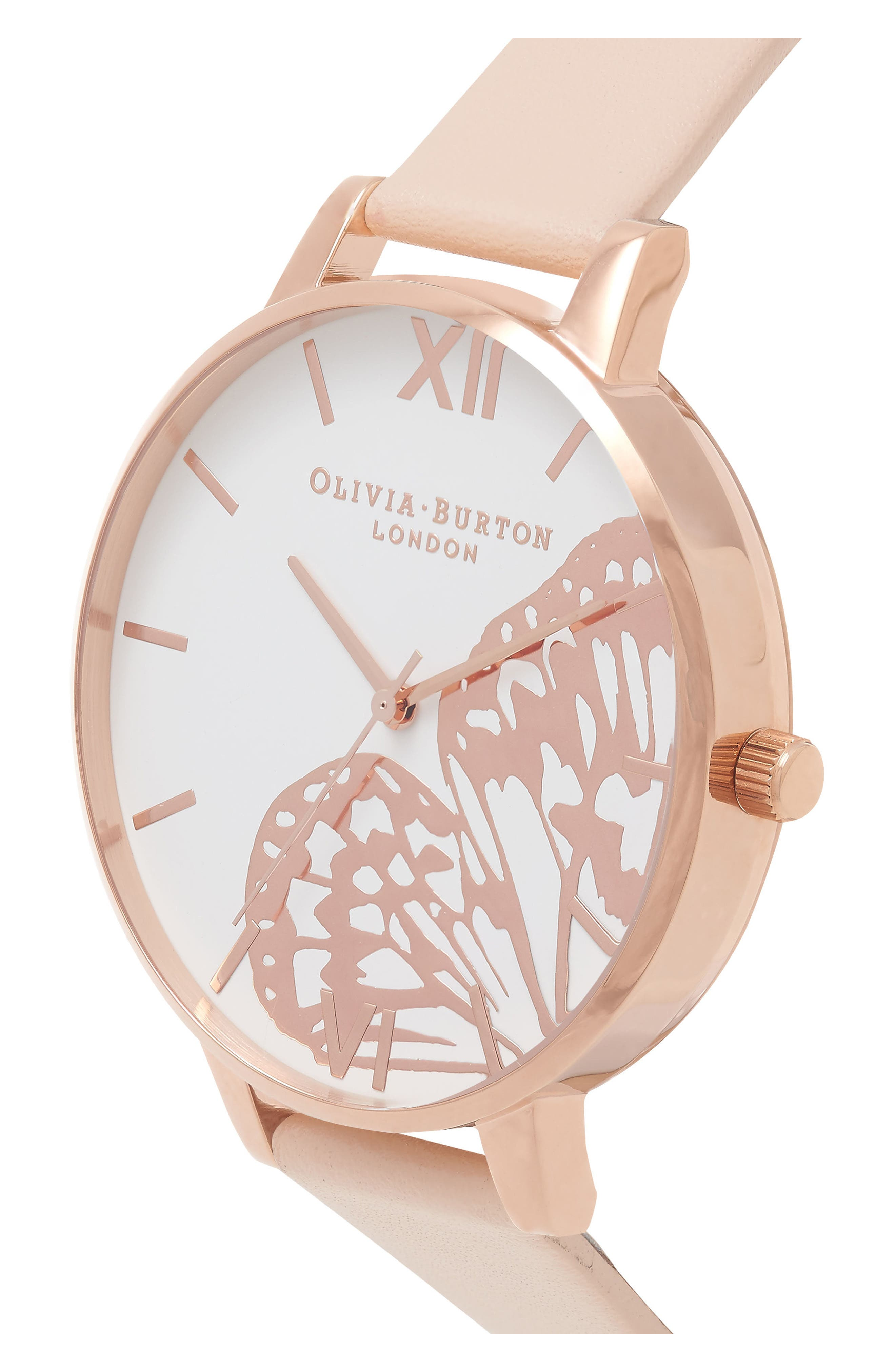 Alternate Image 3  - Olivia Burton Butterfly Wing Leather Strap Watch, 38mm