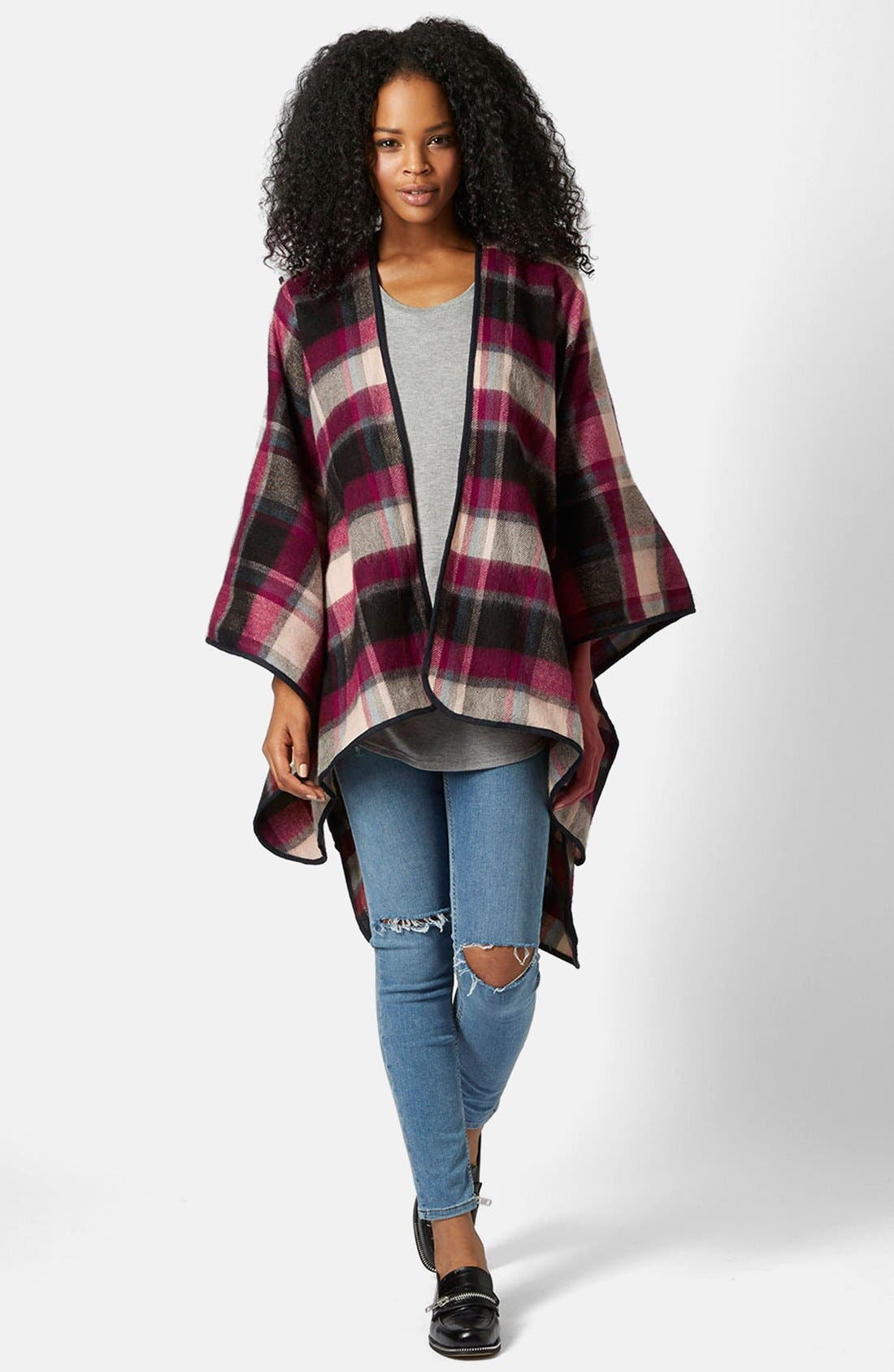 Alternate Image 4  - Topshop Check Print Cape