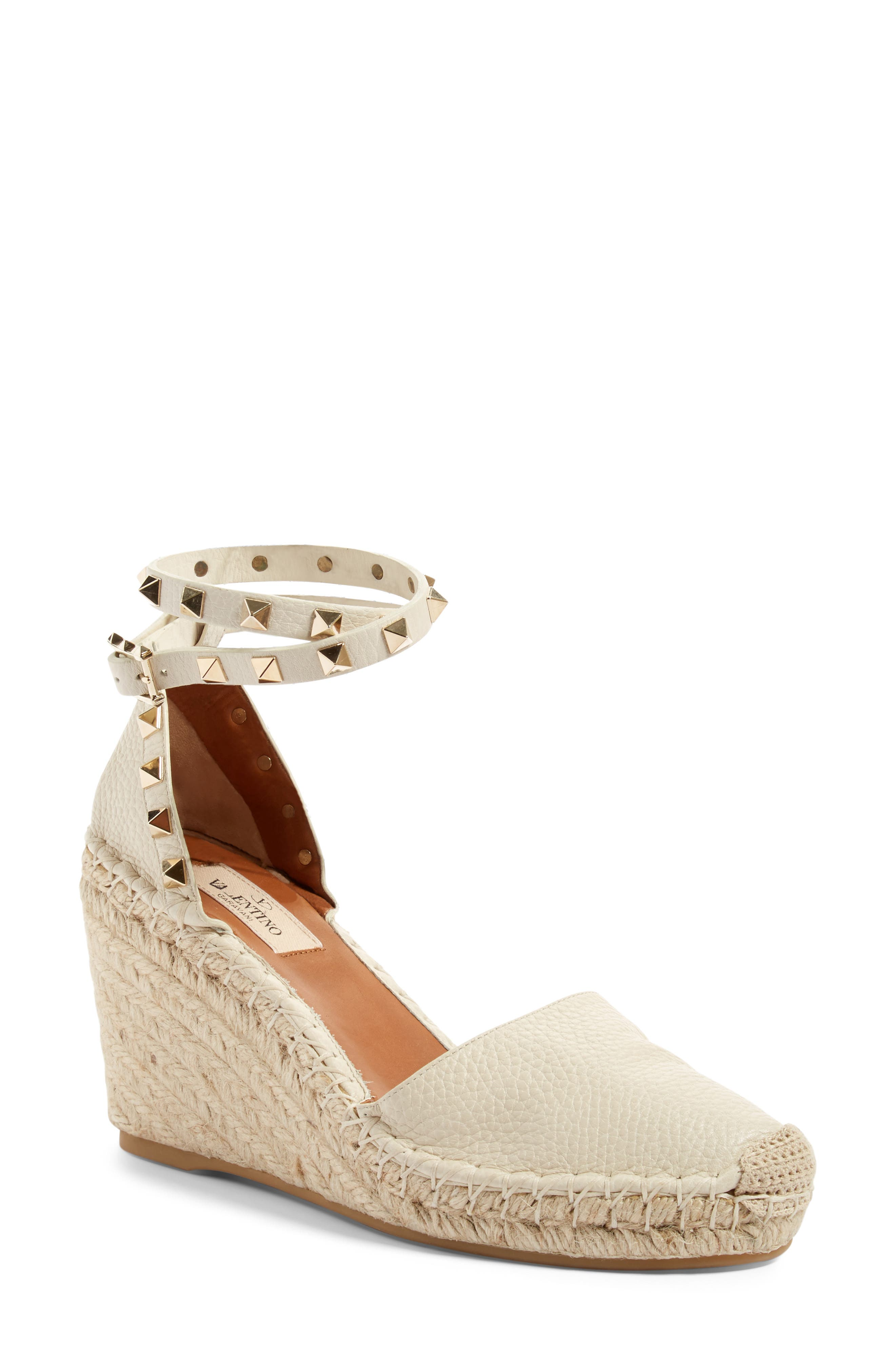 Alternate Image 1 Selected - Valentino Rockstud Espadrille Wedge (Women)