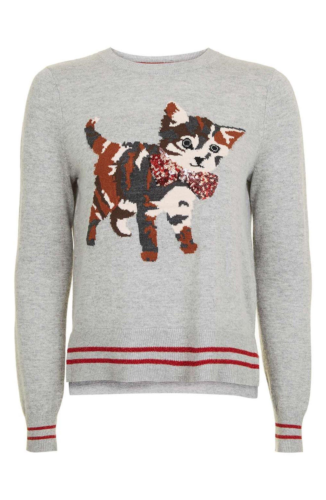 Alternate Image 4  - Topshop Sequin Embellished Cat Sweater (Petite)